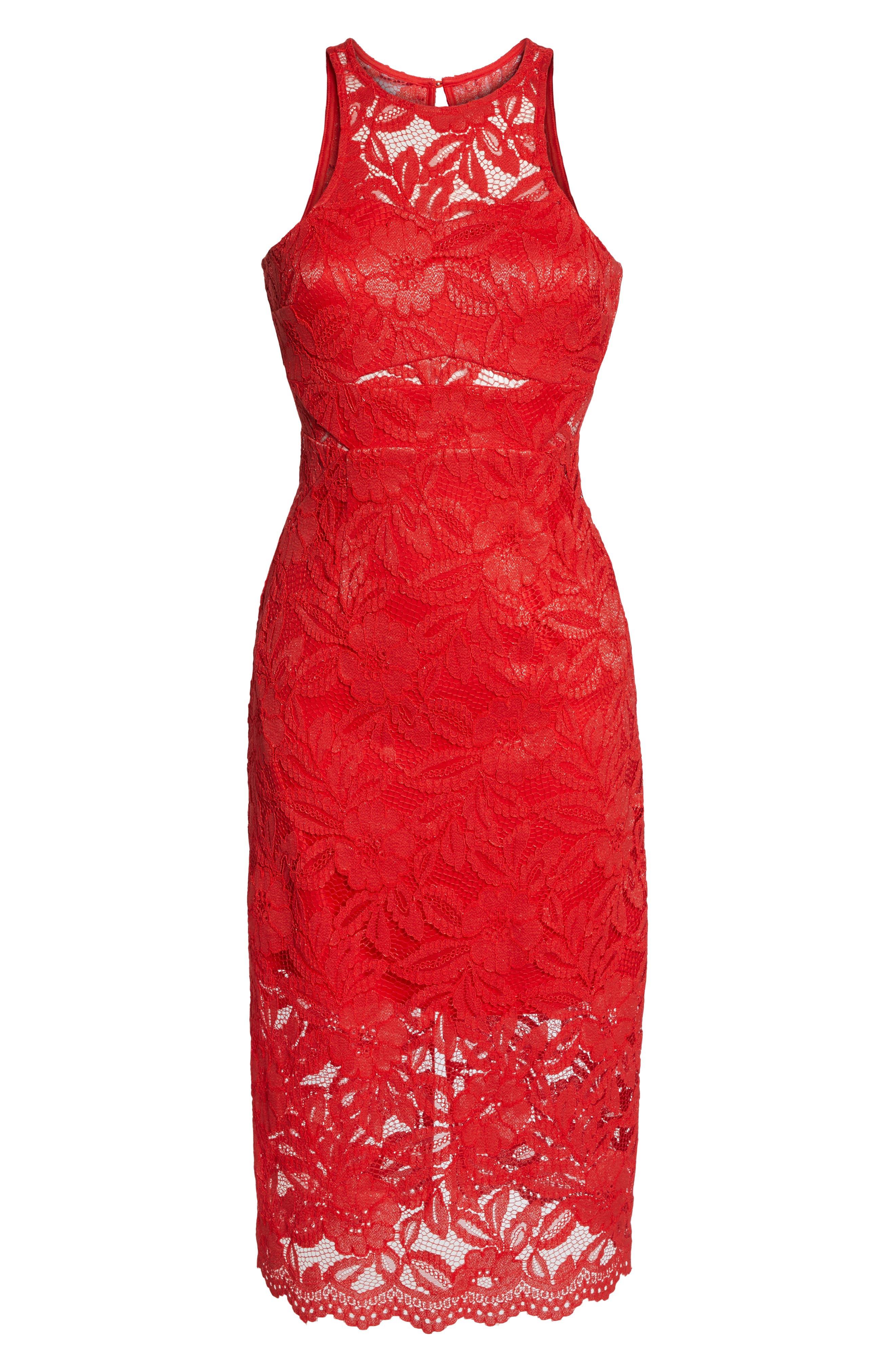 Erin Lace Midi Sheath Dress,                             Alternate thumbnail 7, color,                             RED