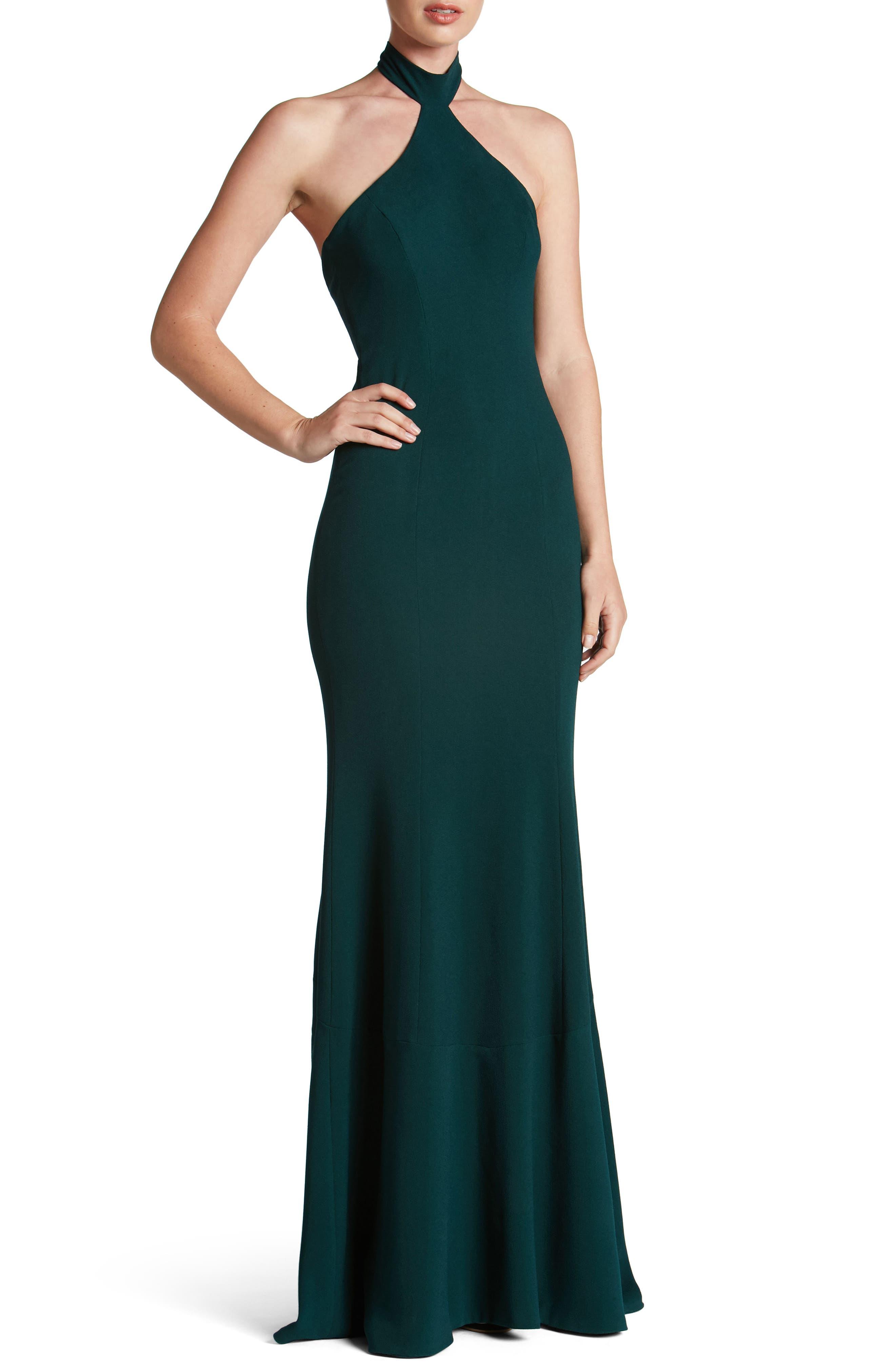 Taylor Crepe Halter Gown,                             Main thumbnail 2, color,