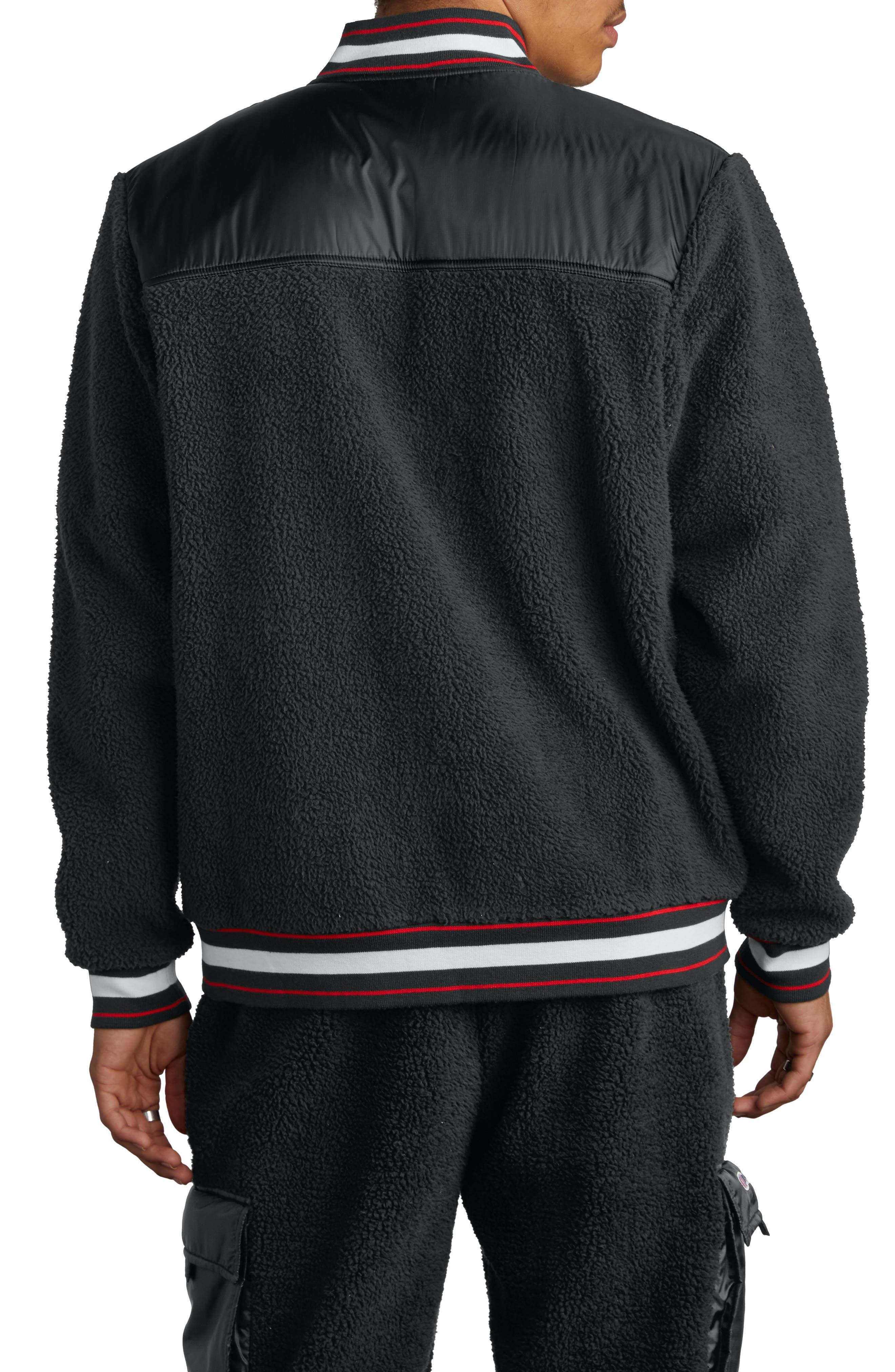 CHAMPION,                             Fleece Baseball Jacket,                             Alternate thumbnail 2, color,                             BLACK