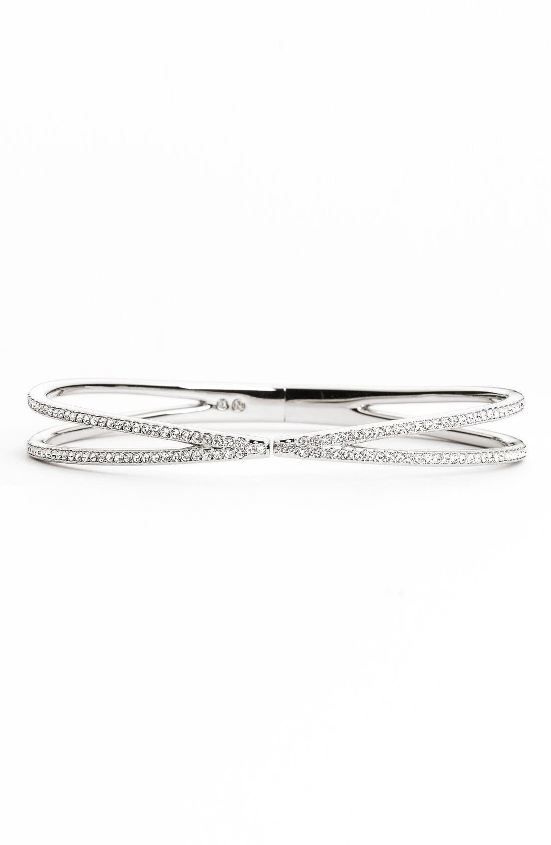 Pavé Hinged Crossover Bracelet,                         Main,                         color, SILVER/ CLEAR