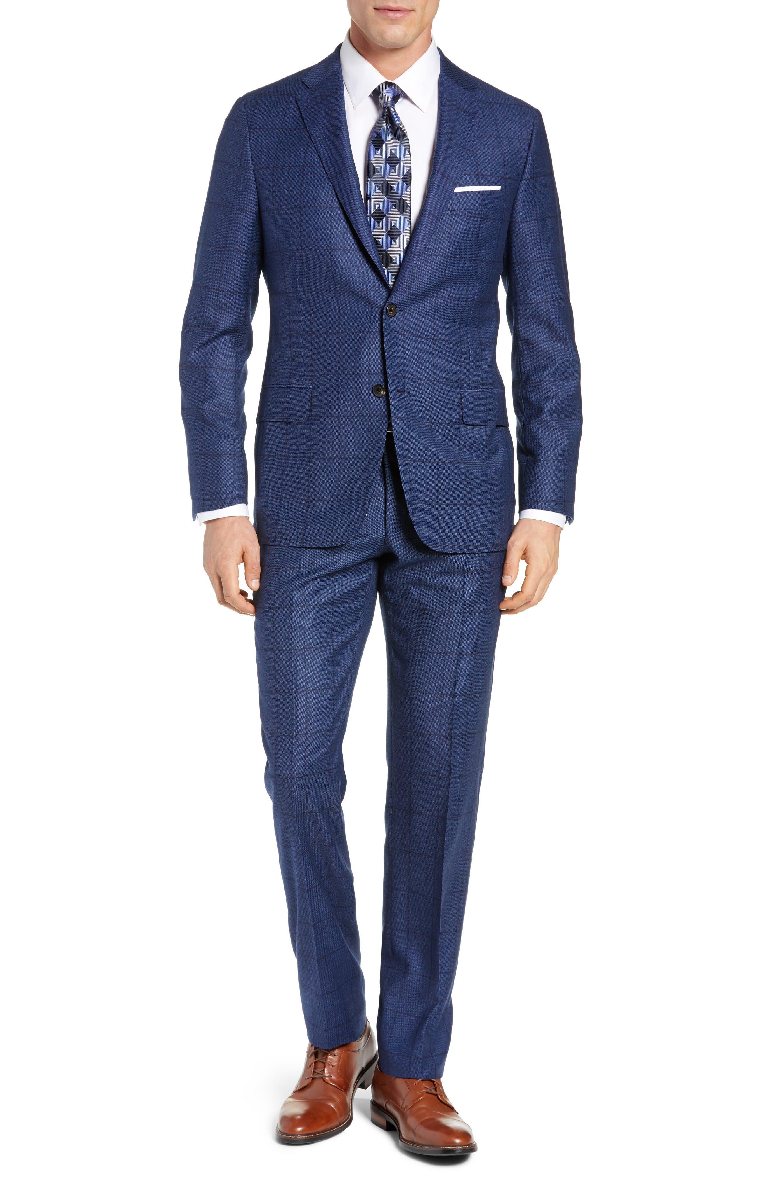 Classic Fit Windowpane Wool & Cashmere Suit,                             Main thumbnail 1, color,                             MEDIUM BLUE