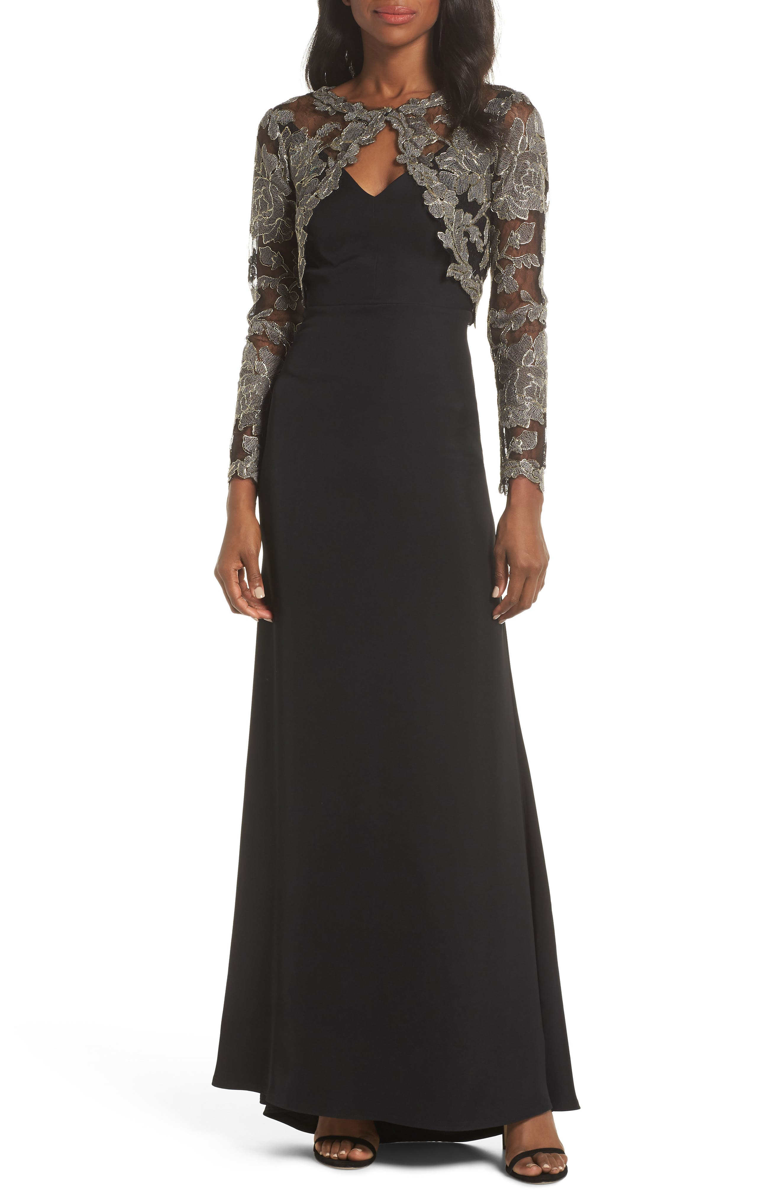 TADASHI SHOJI,                             Crepe & Embroidered Lace Gown,                             Main thumbnail 1, color,                             SMOKE PEARL/ BLACK