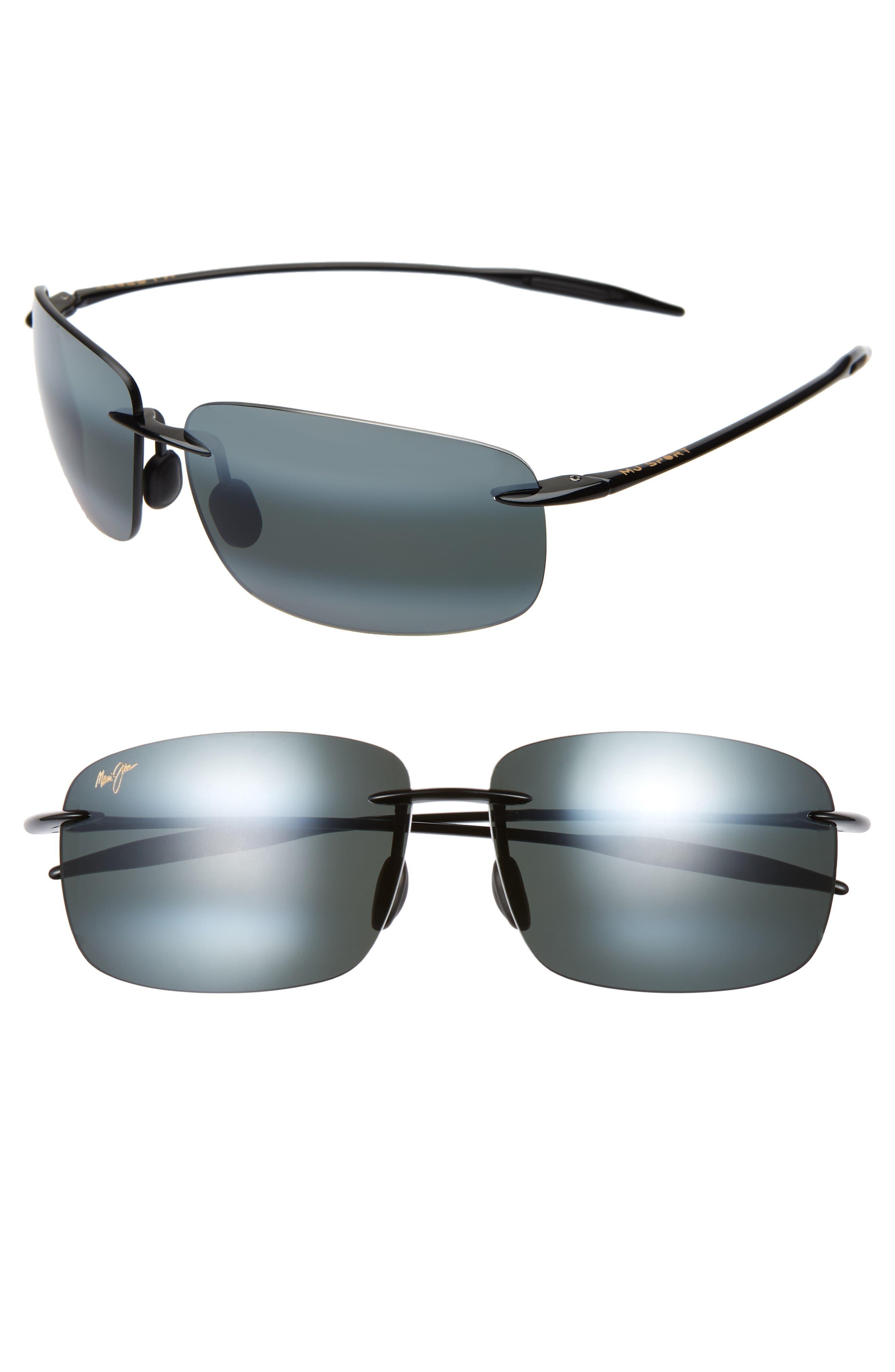 'Breakwall - PolarizedPlus<sup>®</sup>2' 63mm Sunglasses,                             Alternate thumbnail 2, color,                             BLACK GLOSS
