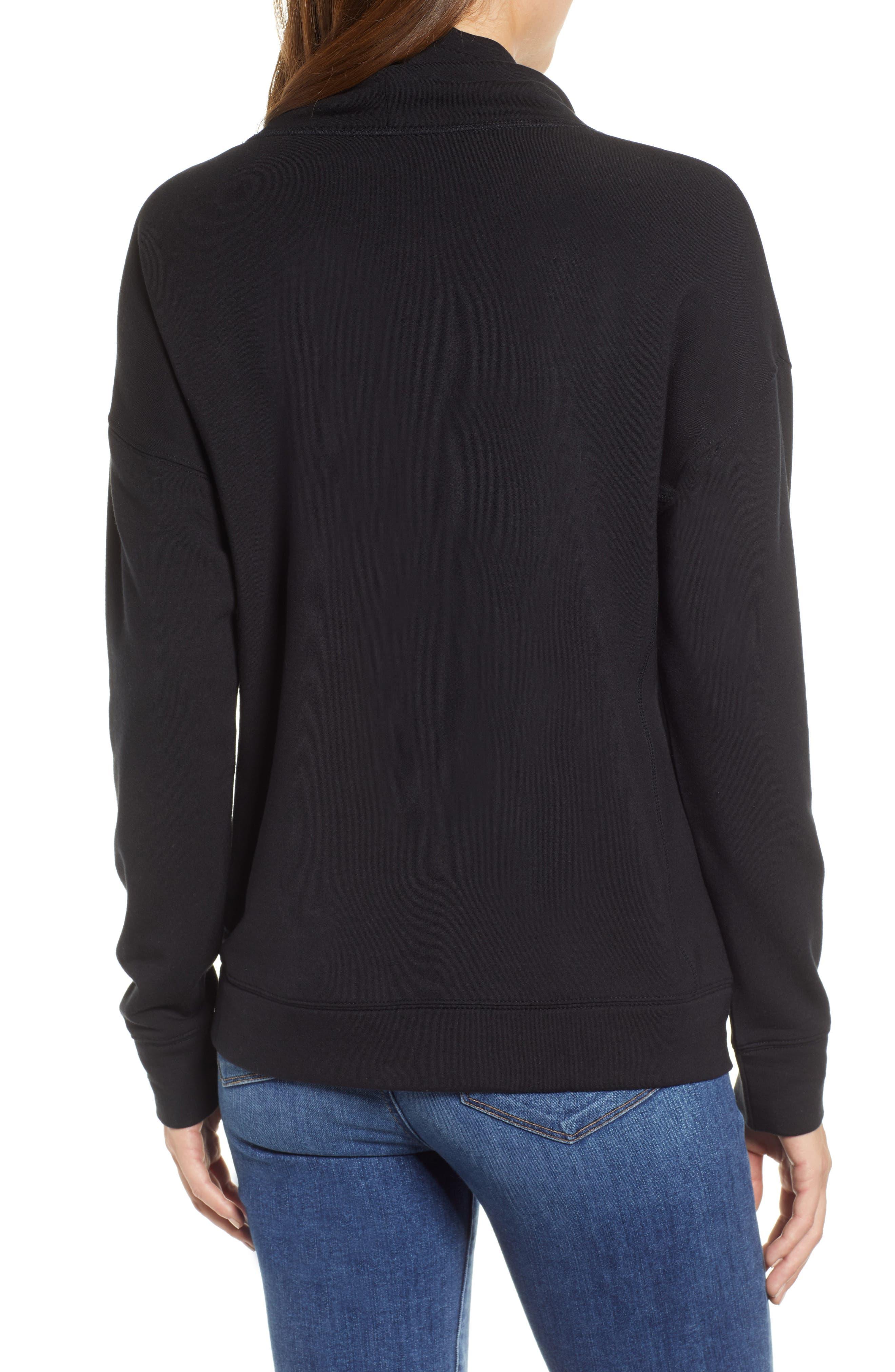 Funnel Neck Sweatshirt,                             Alternate thumbnail 2, color,                             JET BLACK