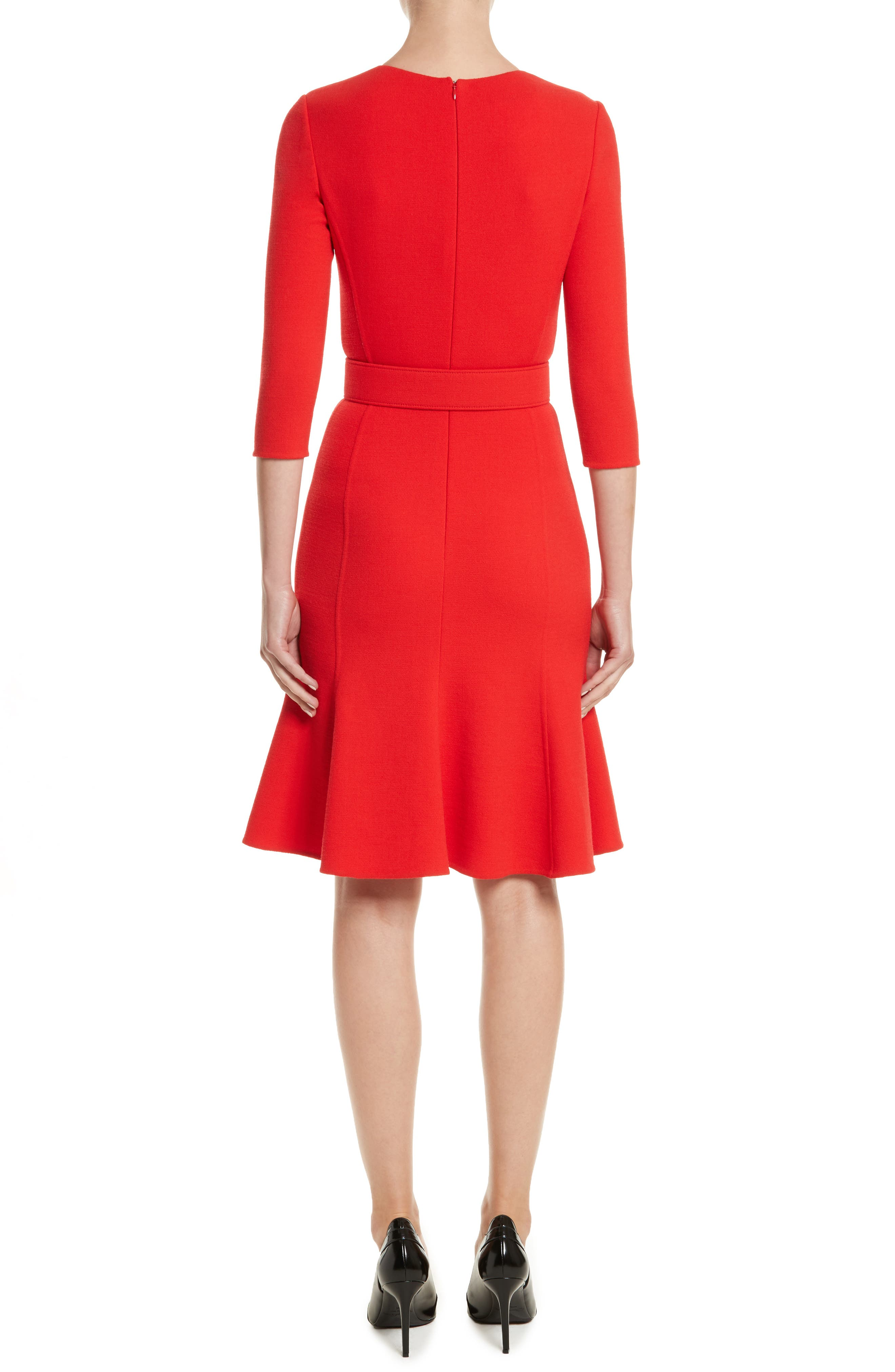Crepe Fit & Flare Dress,                             Alternate thumbnail 2, color,                             620