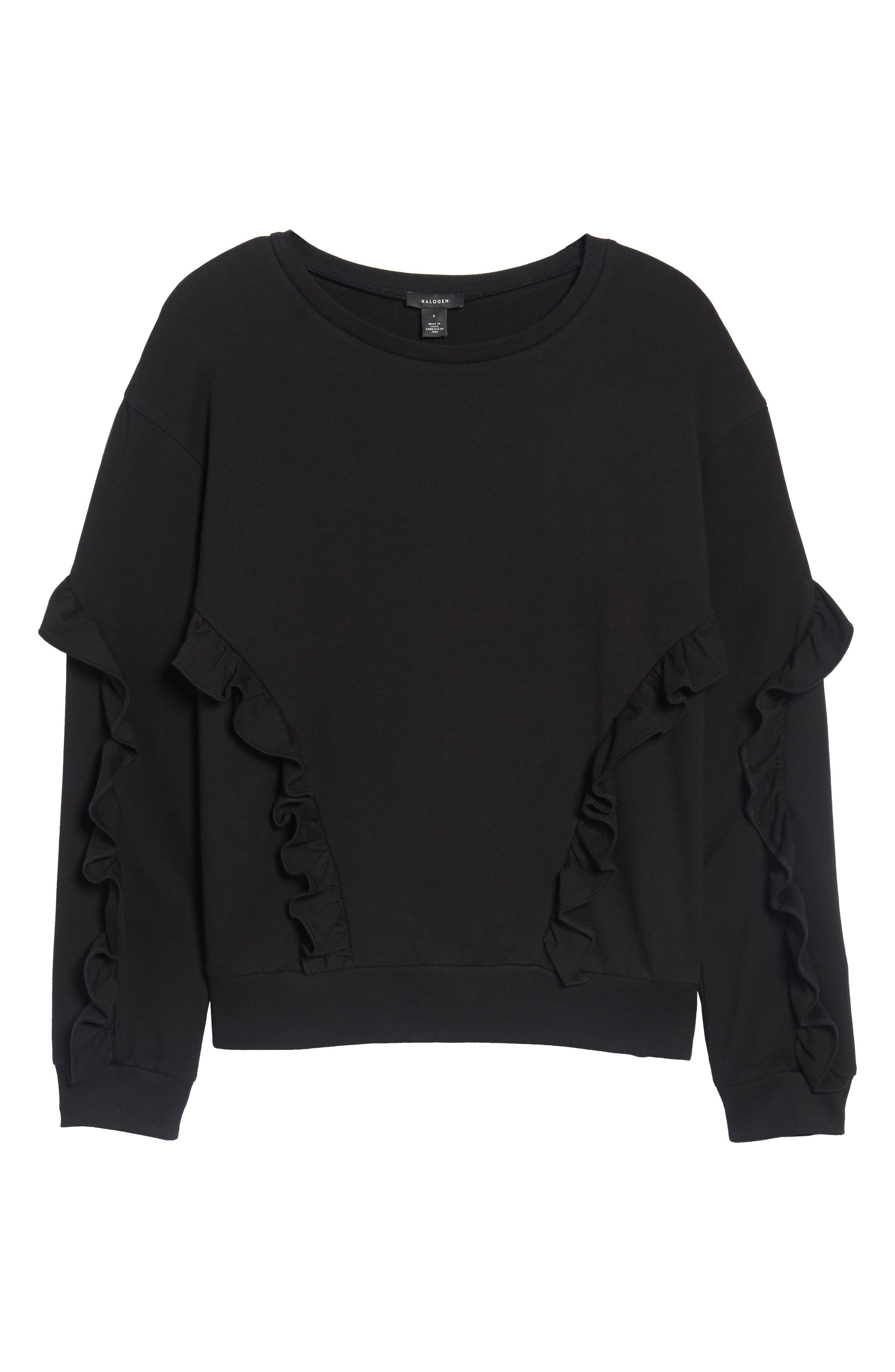 Ruffle Detail Sweatshirt,                             Alternate thumbnail 6, color,                             001