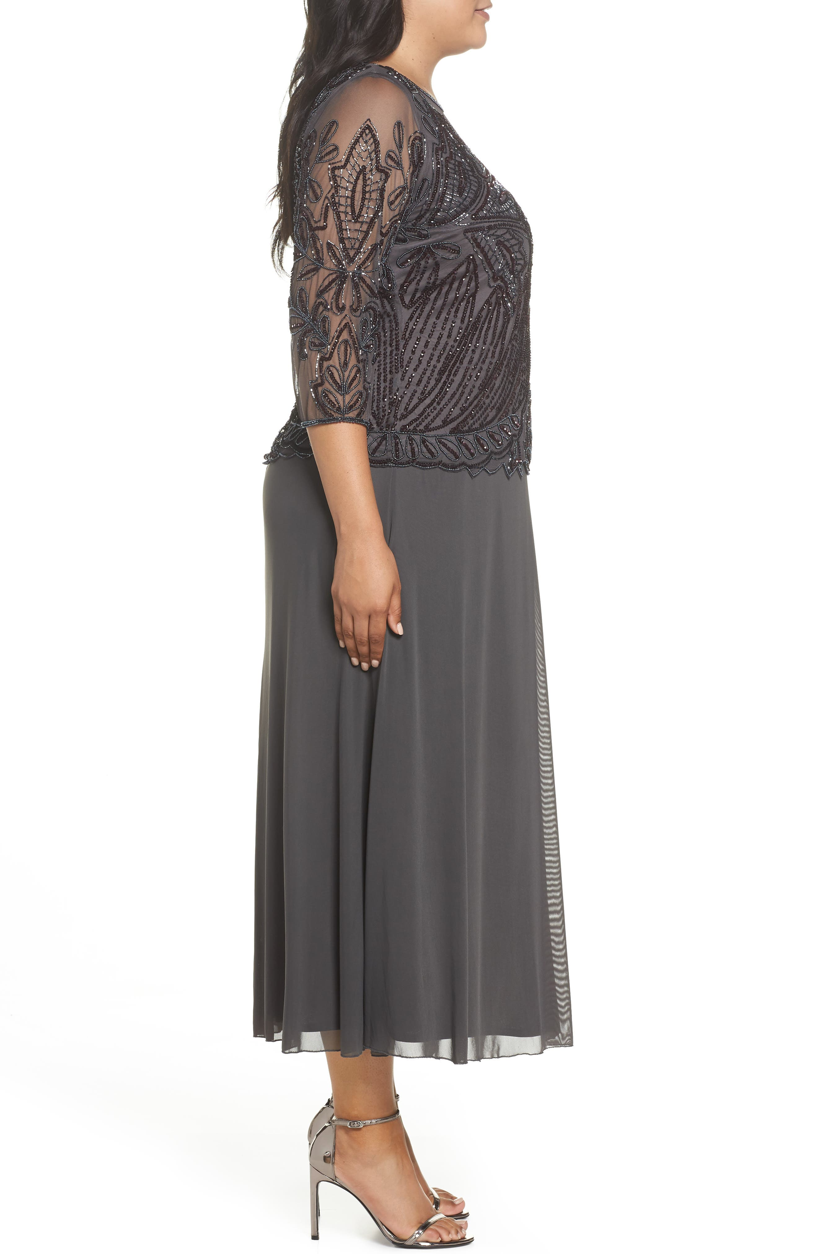 Illusion Neck Beaded A-Line Gown,                             Alternate thumbnail 3, color,                             NEW ASH
