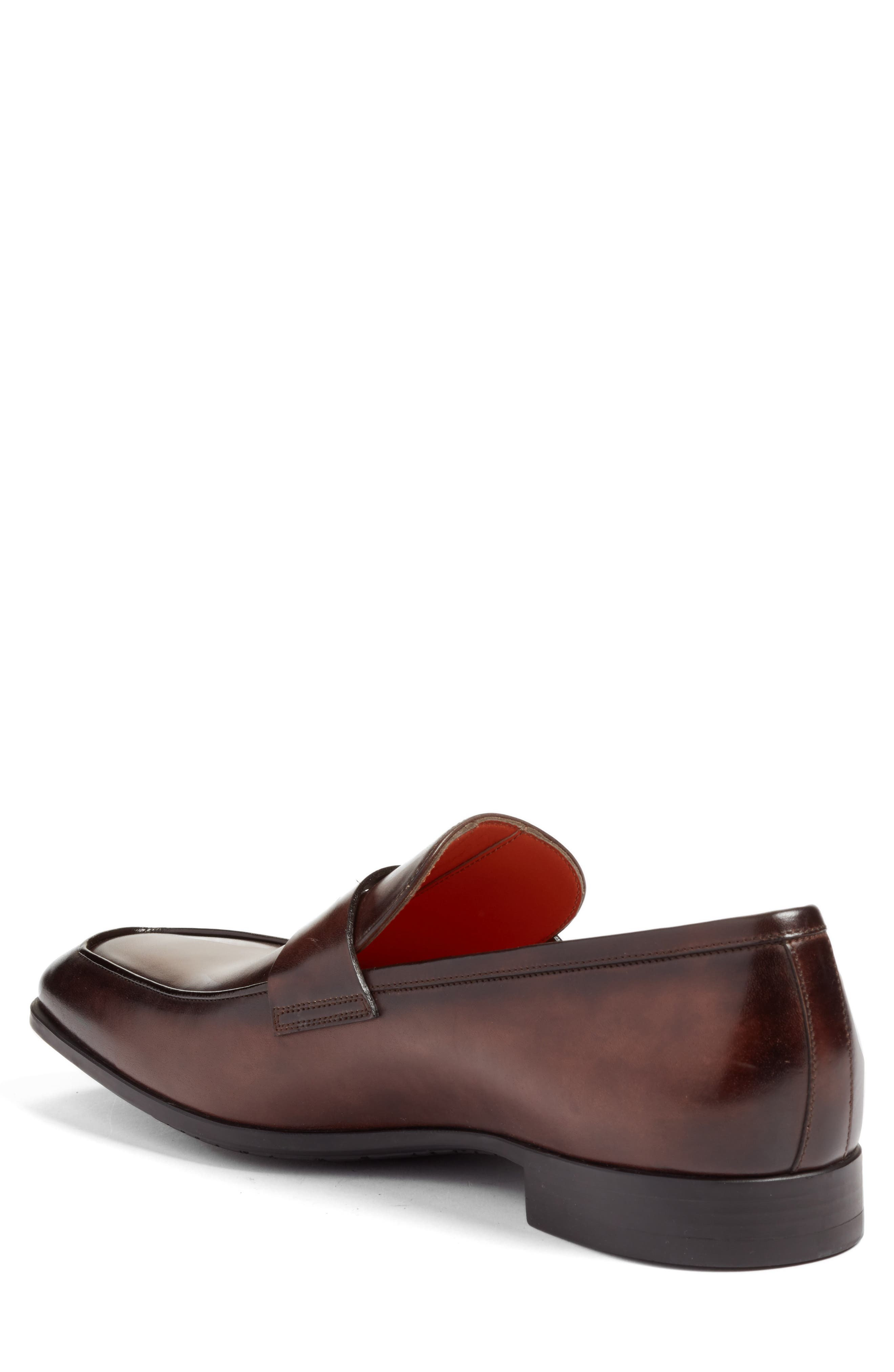 Fisk Square Toe Penny Loafer,                             Alternate thumbnail 2, color,                             BROWN LEATHER