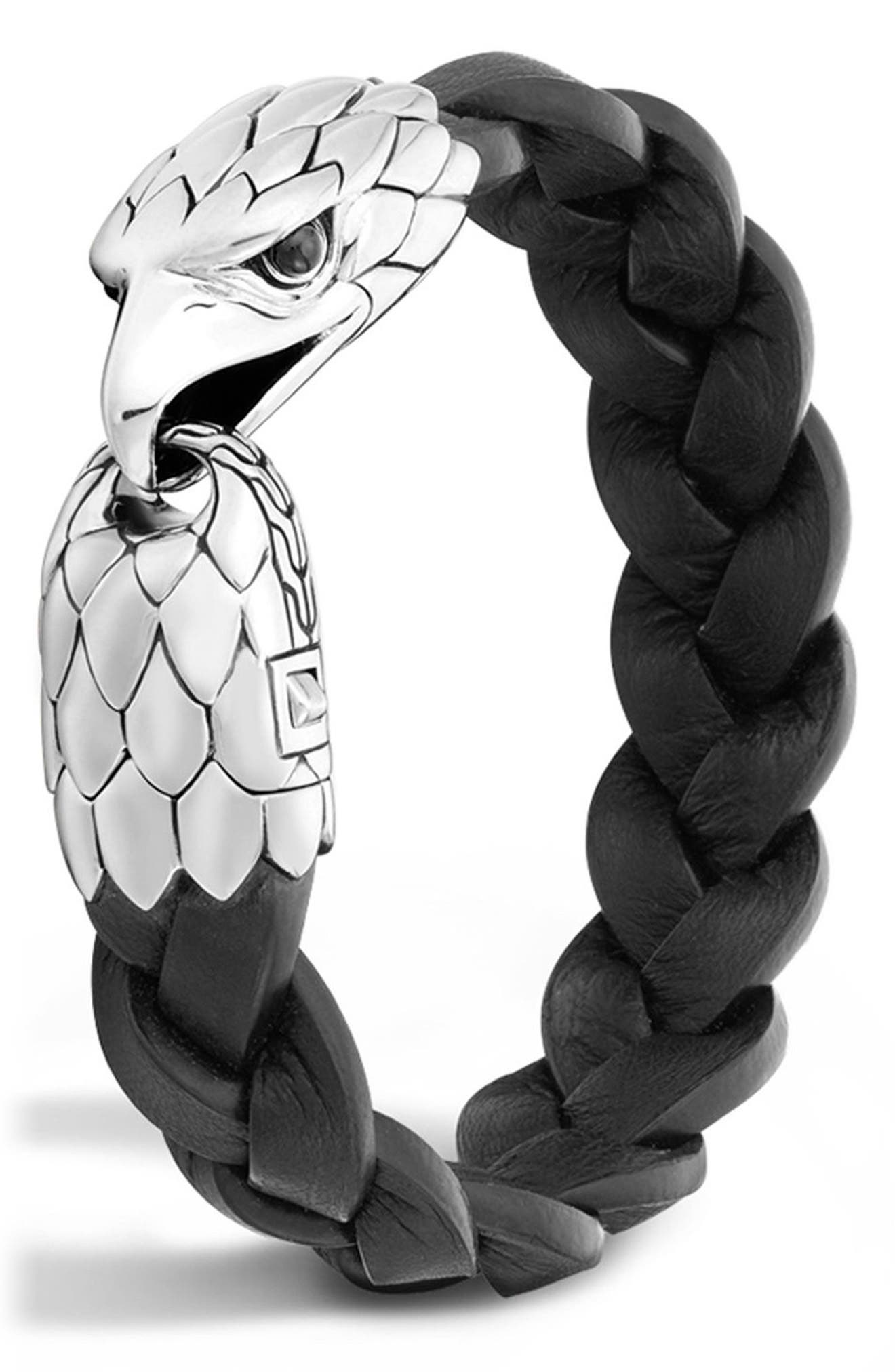 Legends Eagle Silver & Leather Braided Bracelet,                             Main thumbnail 1, color,                             SILVER/ BLACK CHALCEDONY