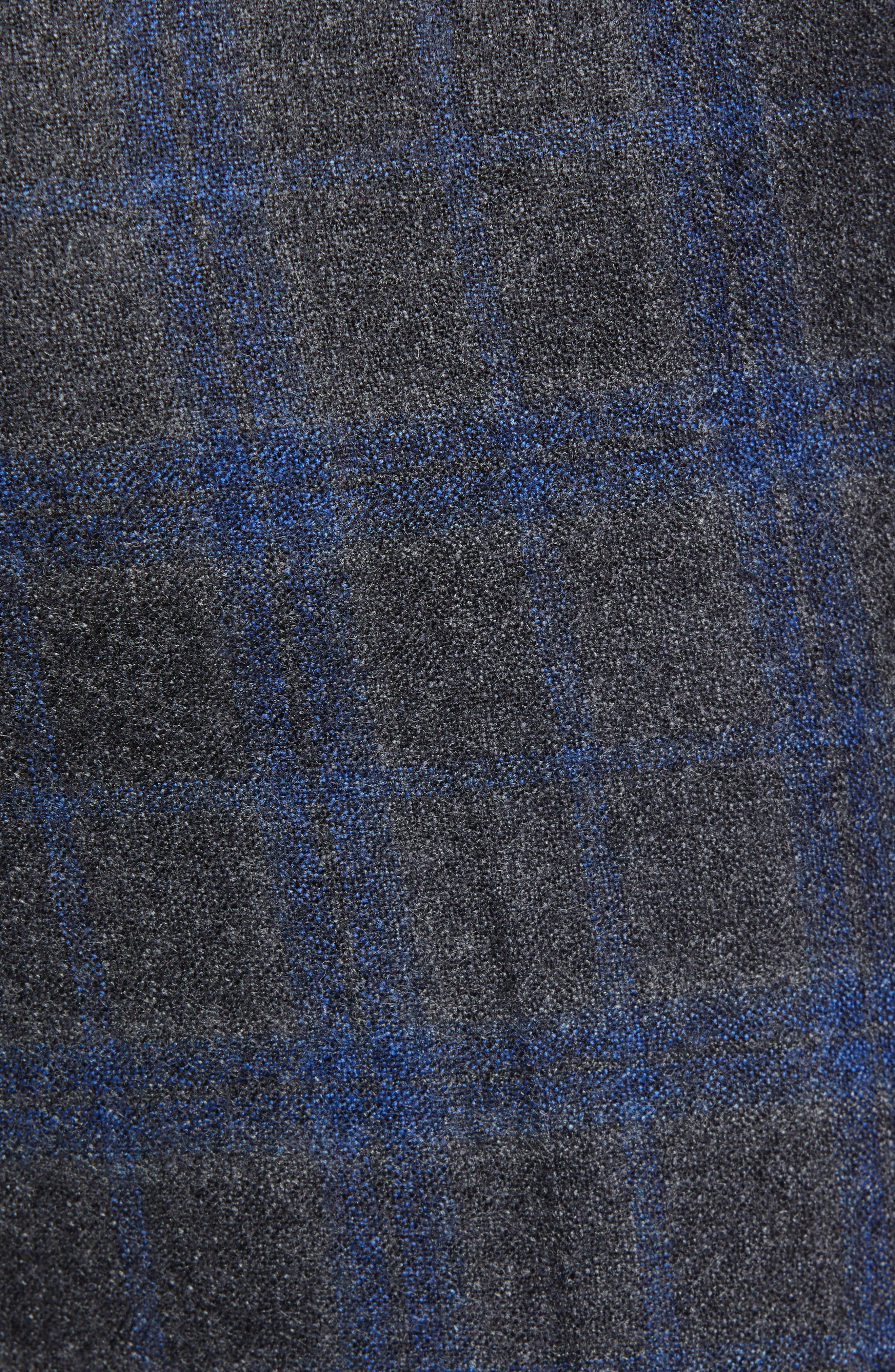 Manufacturing Flat Front Plaid Wool Trousers,                             Alternate thumbnail 5, color,                             021