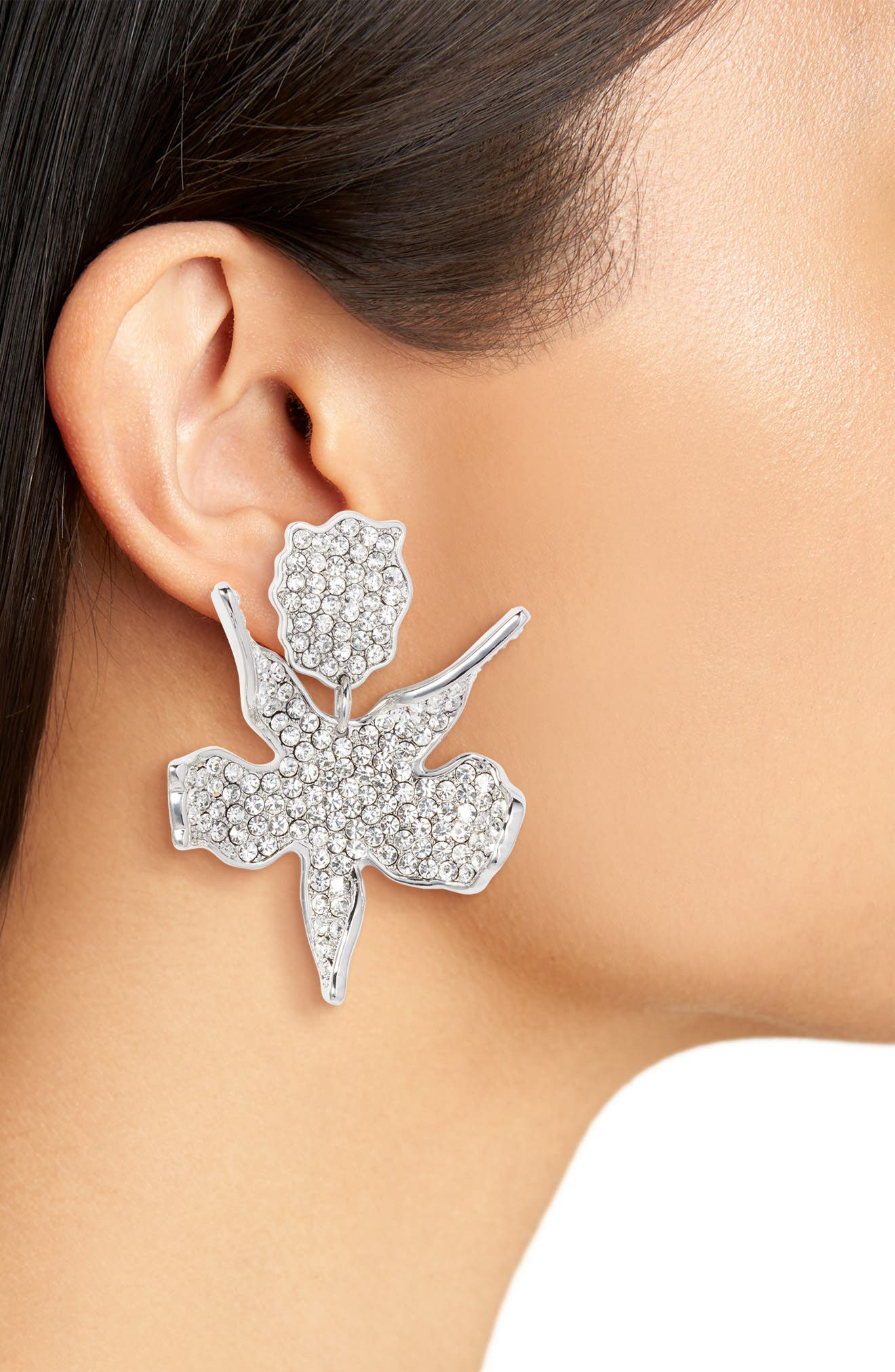 Allover Crystal Lily Earrings,                             Alternate thumbnail 2, color,                             100