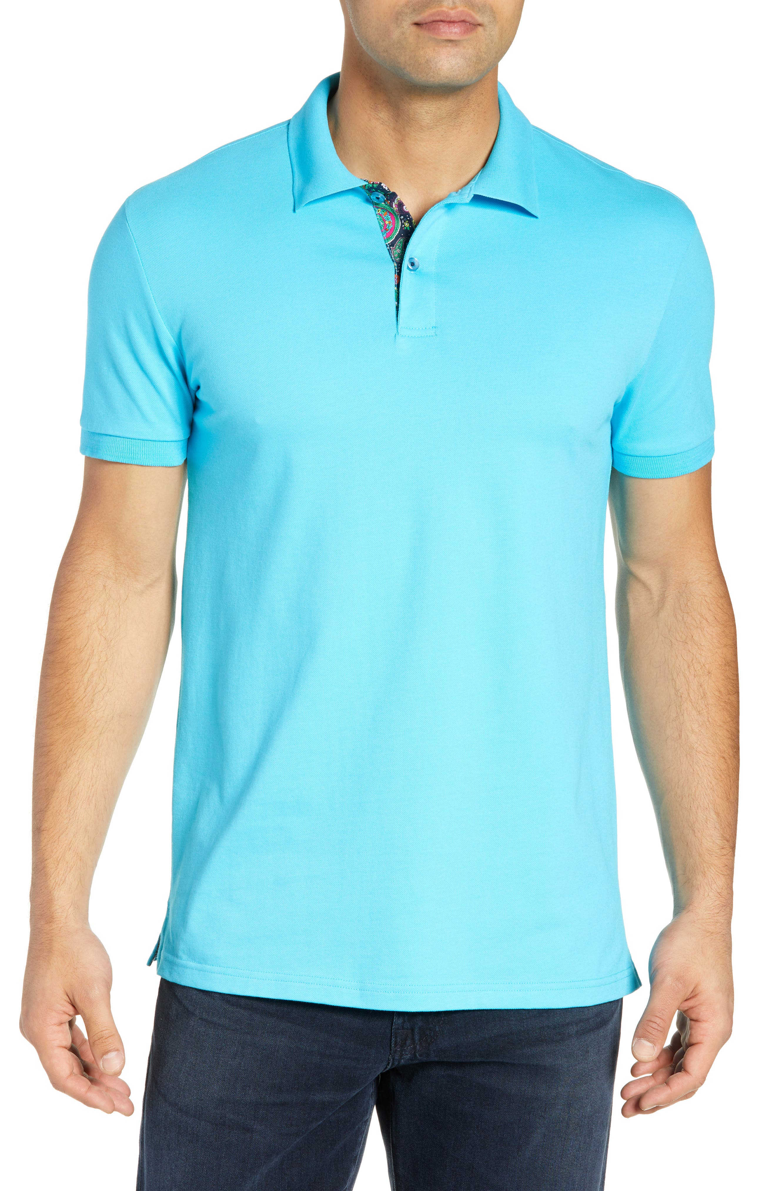 JARED LANG Pique Polo in Turquoise