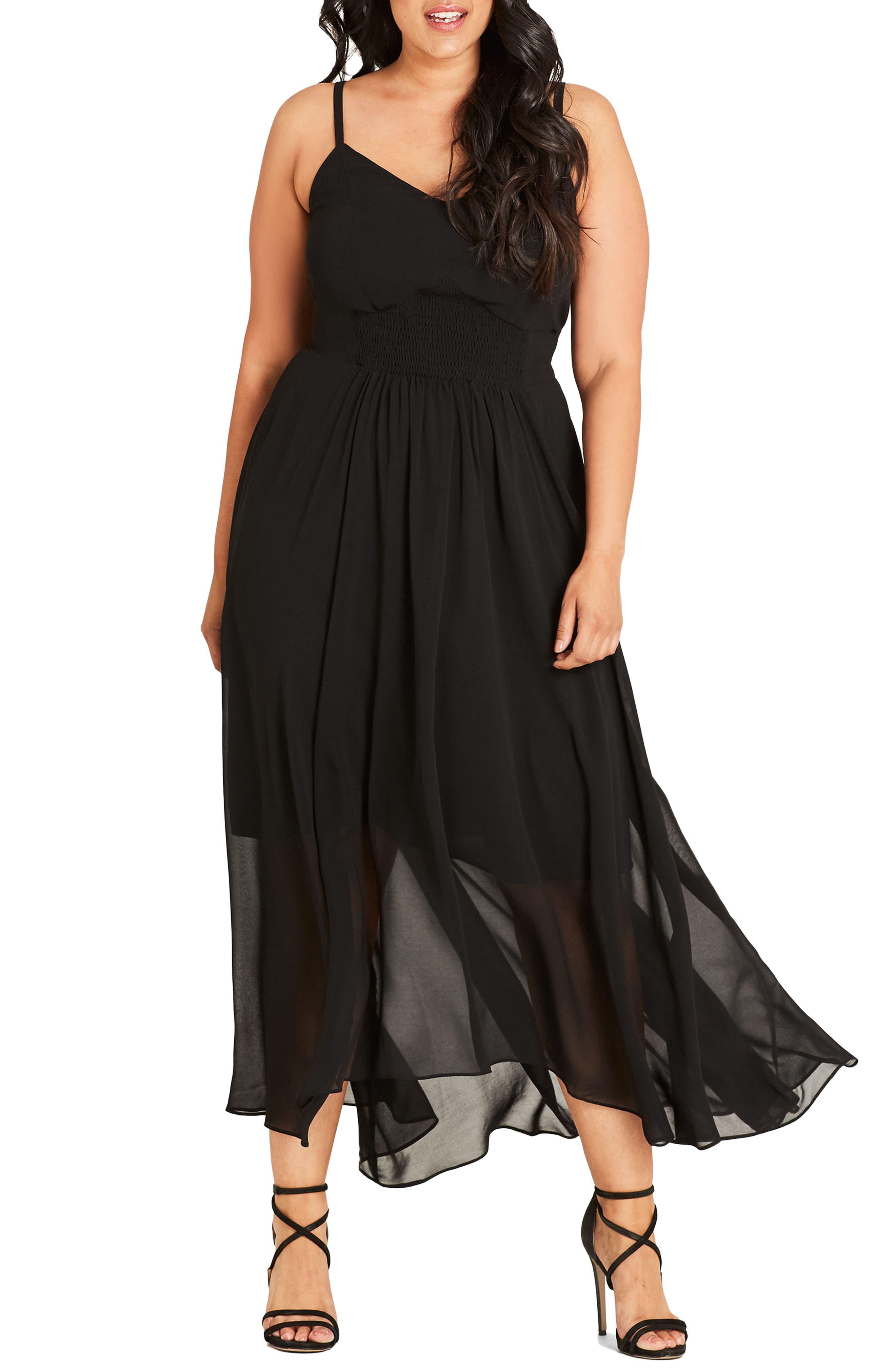 Smocked Waist Maxi Dress,                             Main thumbnail 1, color,                             BLACK