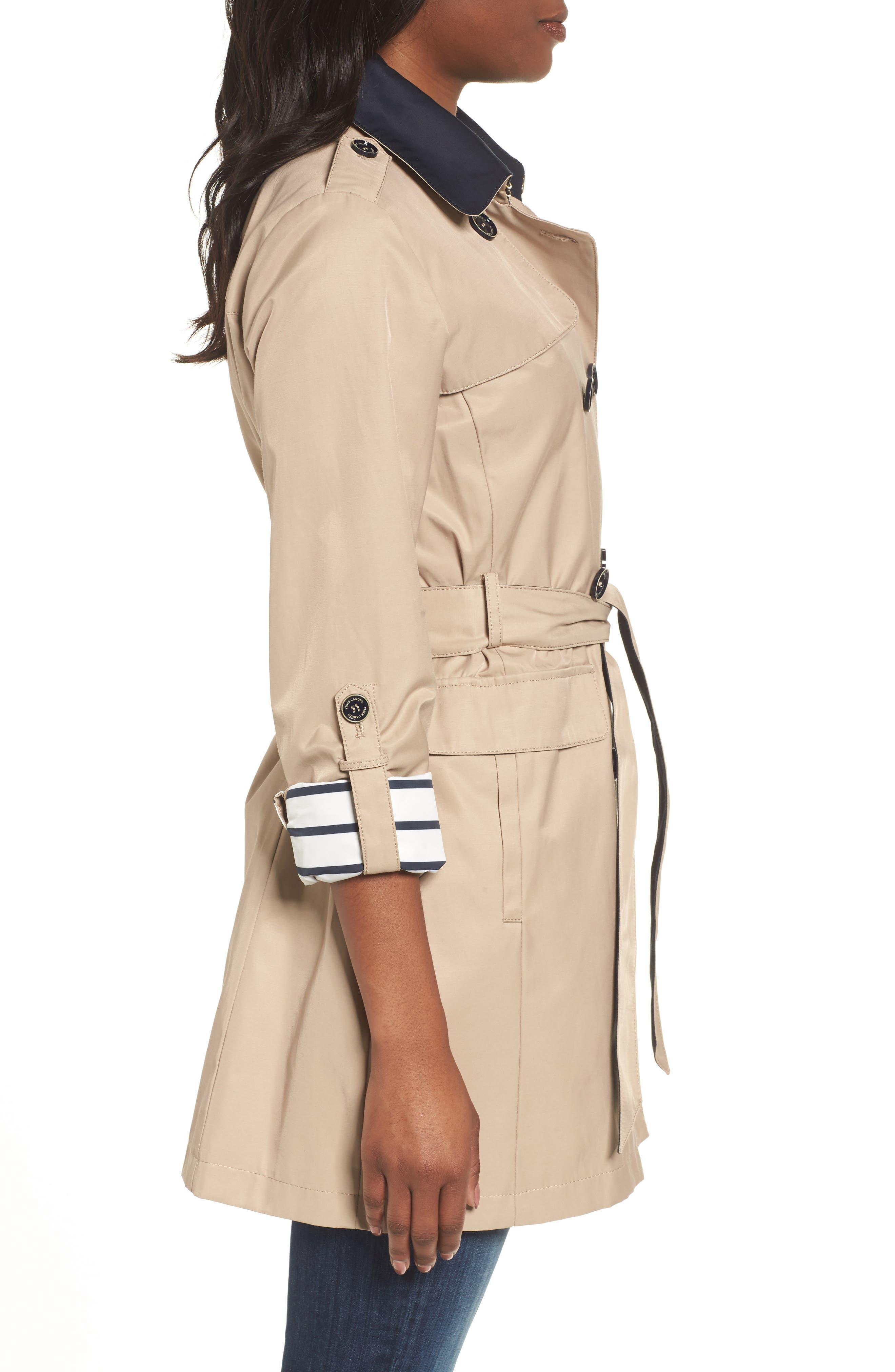 Contrast Collar Trench Coat,                             Alternate thumbnail 3, color,                             259
