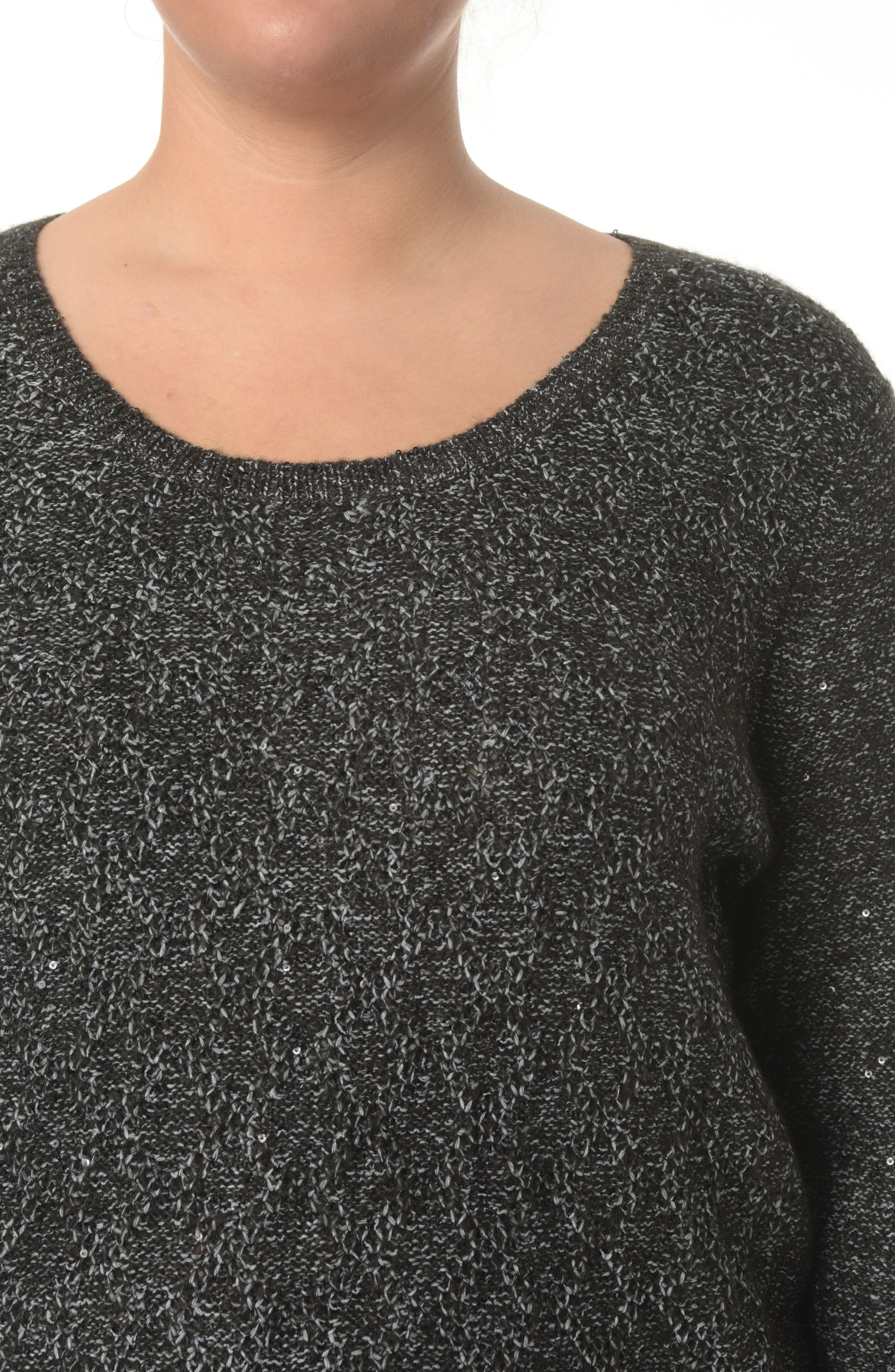 Sequin Scoop Neck Sweater,                             Alternate thumbnail 3, color,                             BLACK