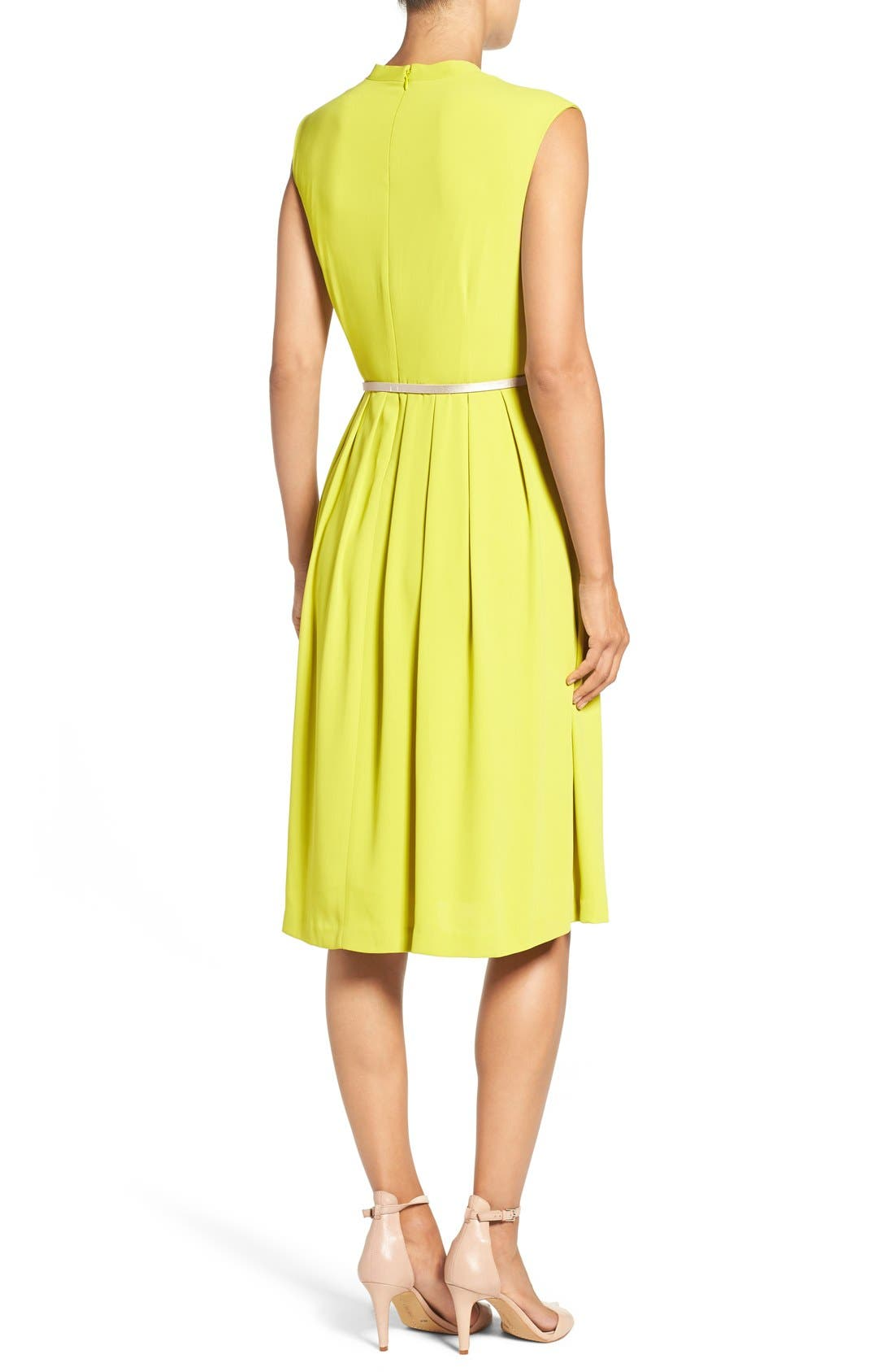 Belted Woven Fit & Flare Dress,                             Alternate thumbnail 8, color,