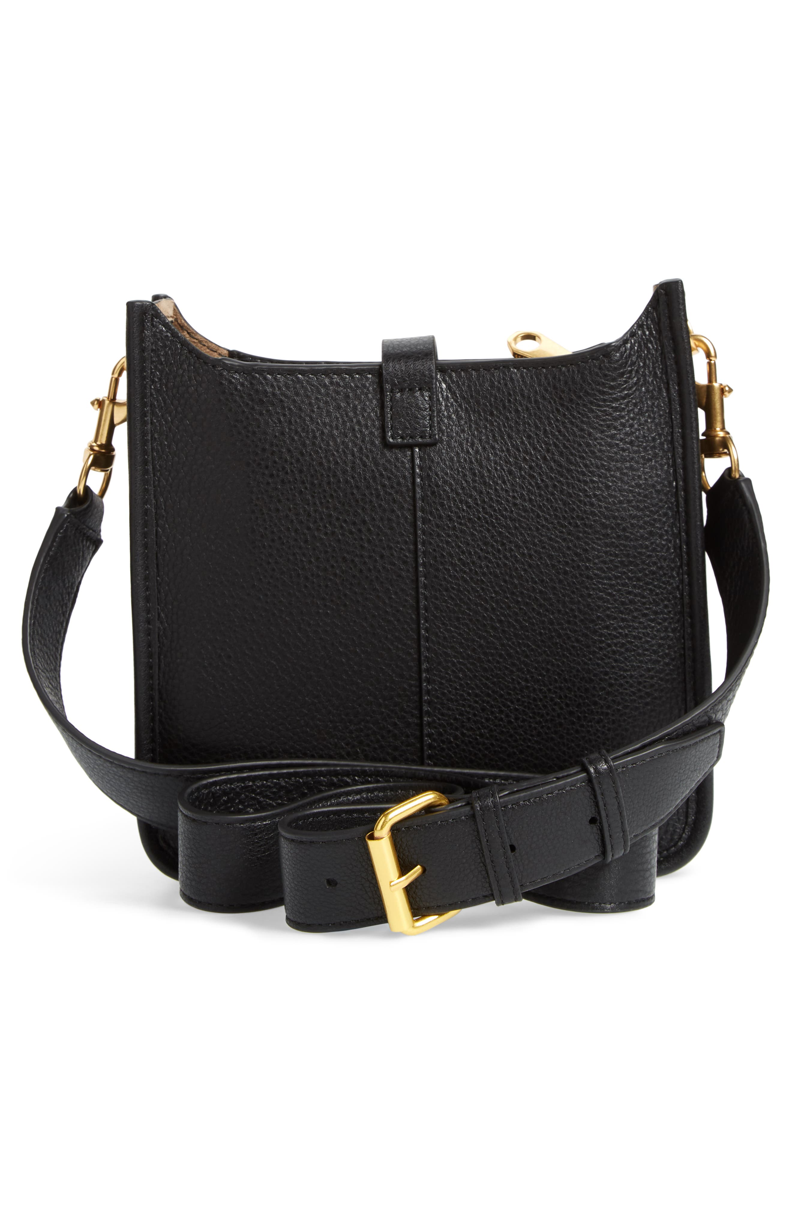 Mini Unlined Leather Feed Bag,                             Alternate thumbnail 3, color,                             010