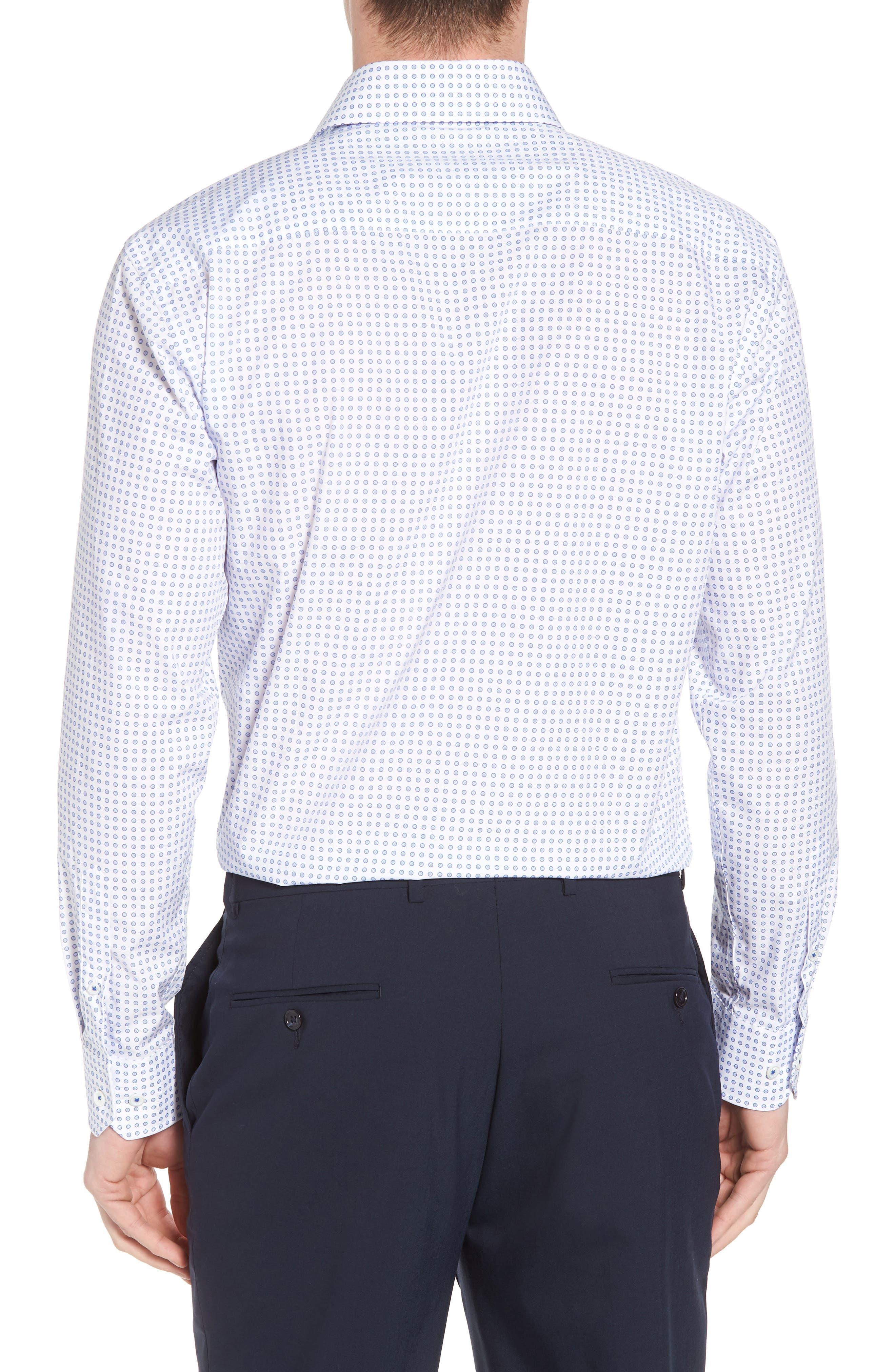 Trim Fit Dot Dress Shirt,                             Alternate thumbnail 3, color,                             CLASSIC BLUE
