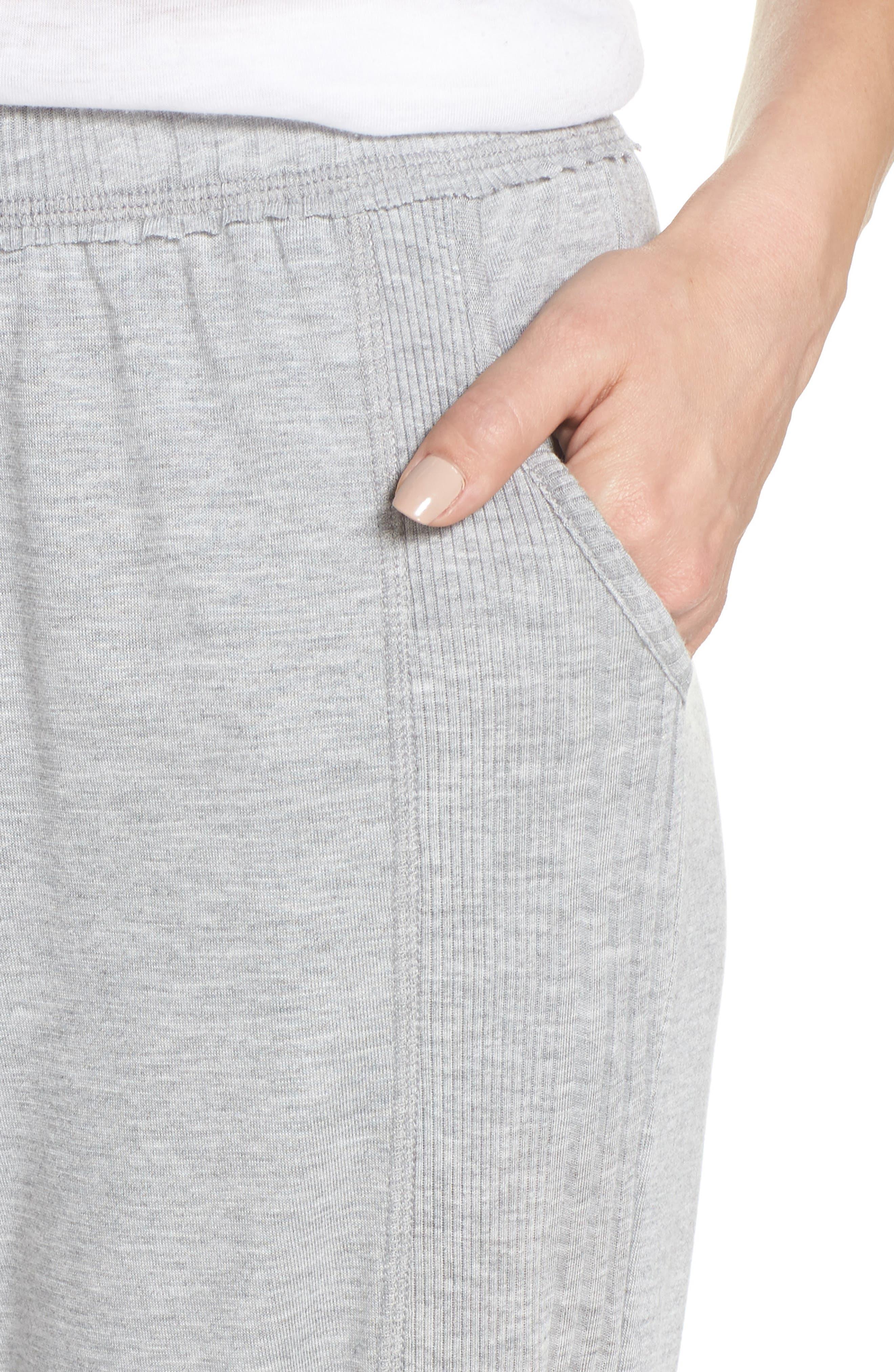 Crop Pajama Pants,                             Alternate thumbnail 4, color,                             LIGHT HEATHER GREY