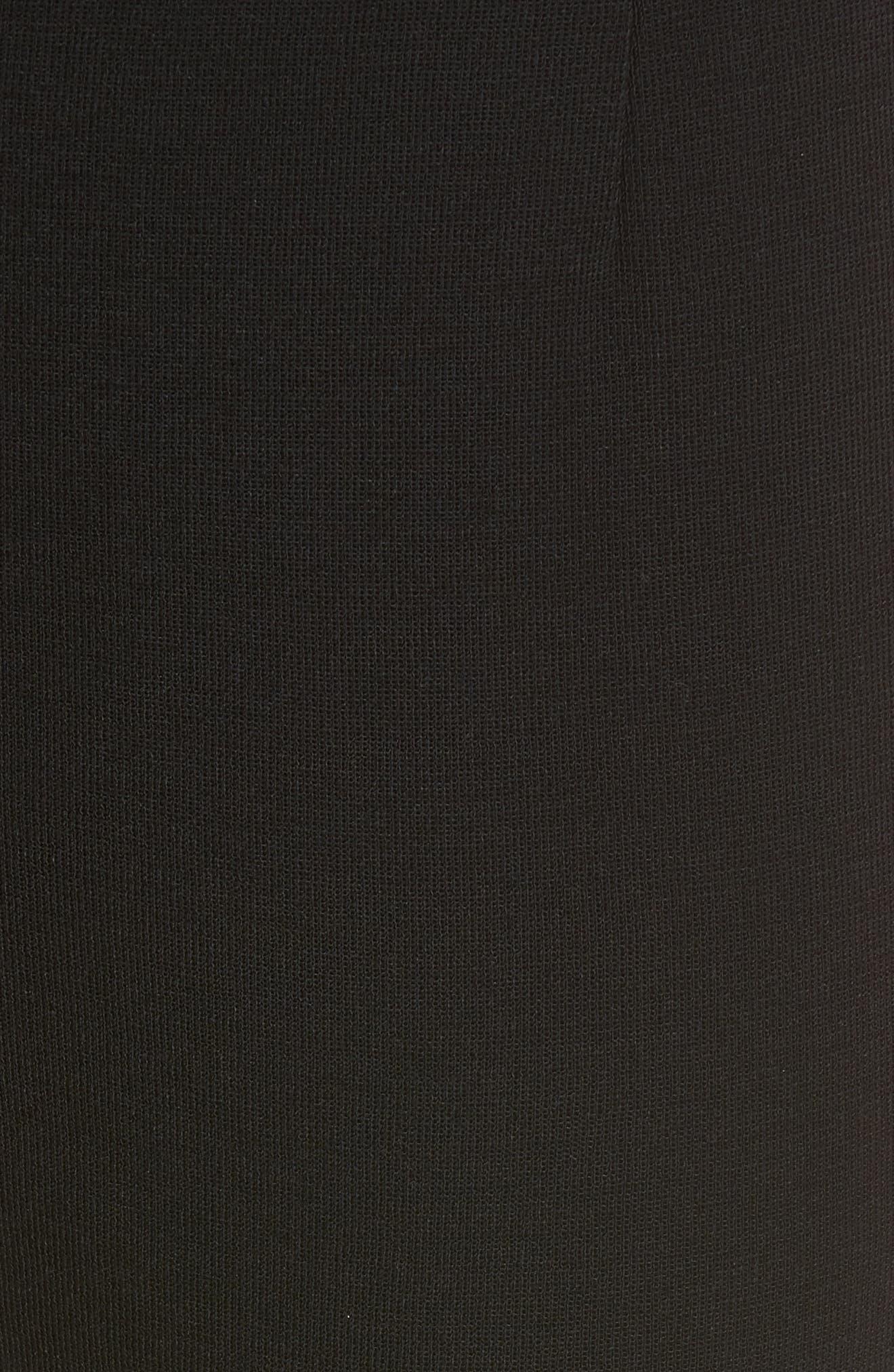 Faux Leather Trim Leggings,                             Alternate thumbnail 5, color,                             BLACK
