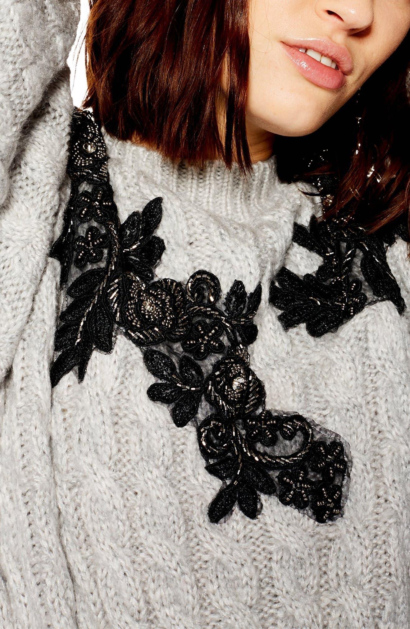 TOPSHOP,                             Appliqué Cable Knit Sweater,                             Alternate thumbnail 3, color,                             020