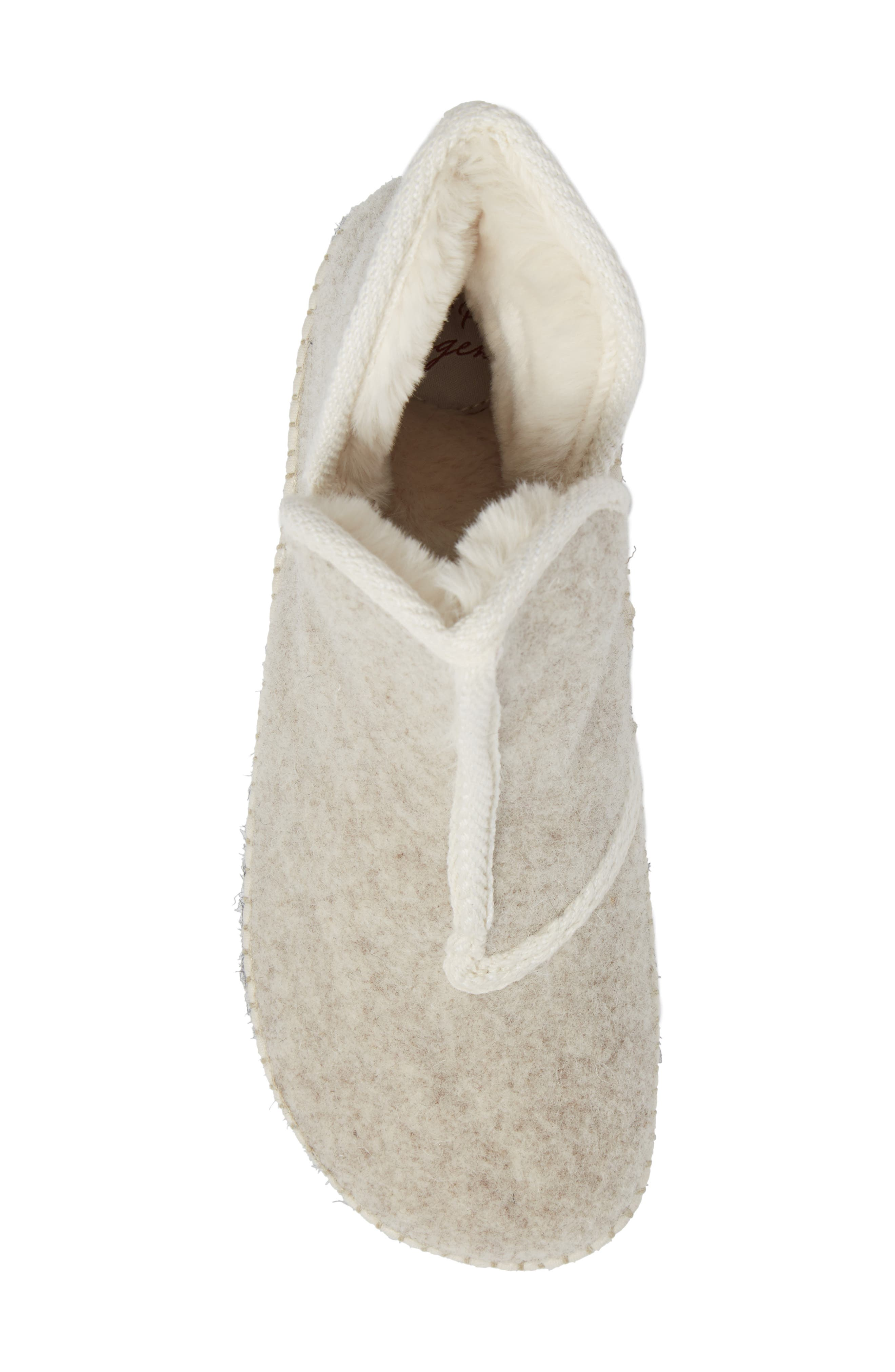 Espadrille Platform Bootie with Faux Fur Lining,                             Alternate thumbnail 5, color,                             ECRU FELT