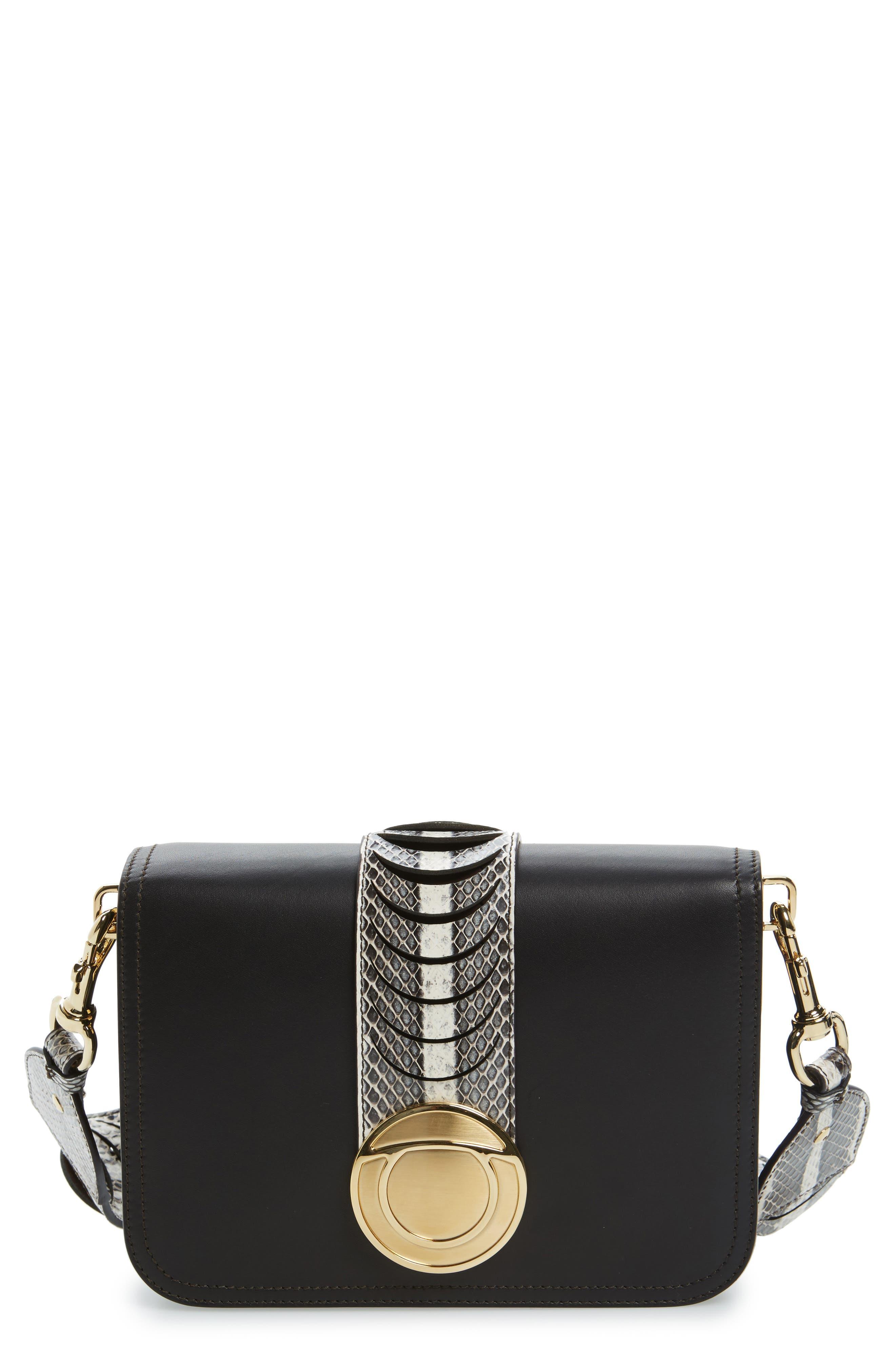 Vittoria Genuine Snakeskin & Leather Crossbody Bag,                             Main thumbnail 1, color,                             972