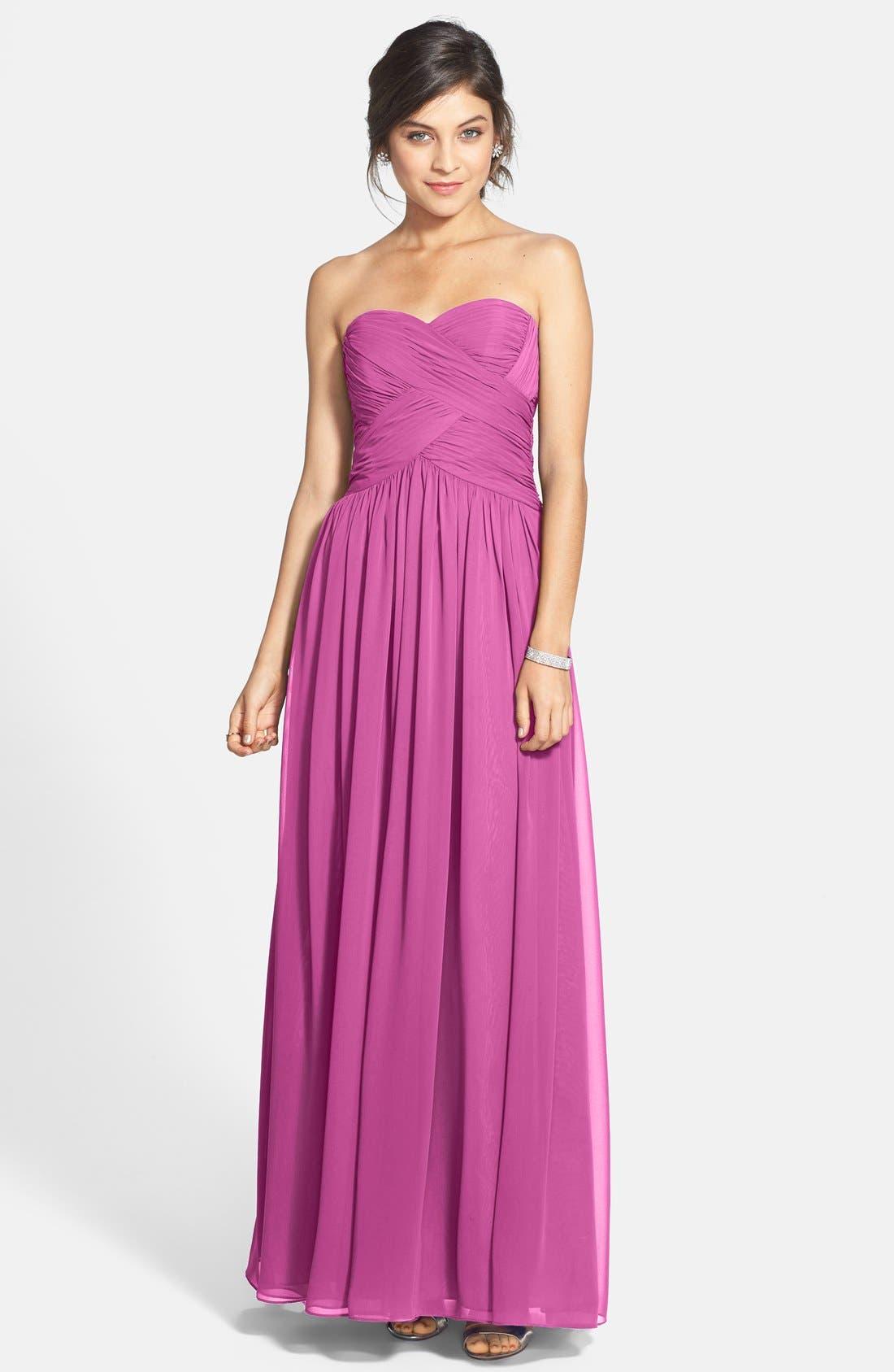 Strapless Ruched Chiffon Gown,                             Main thumbnail 8, color,