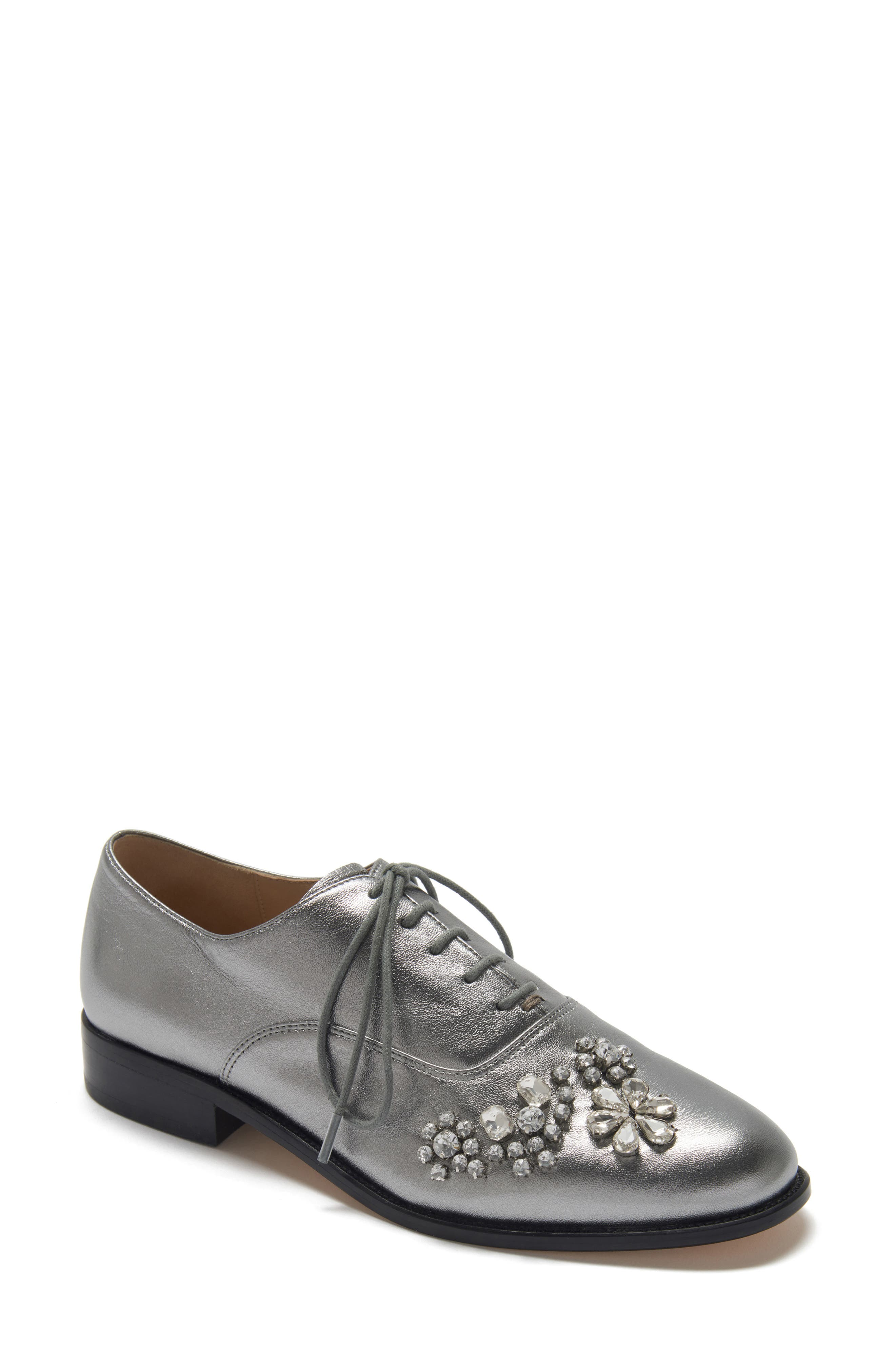 ETIENNE AIGNER Eliza Embellished Oxford in Silver Leather