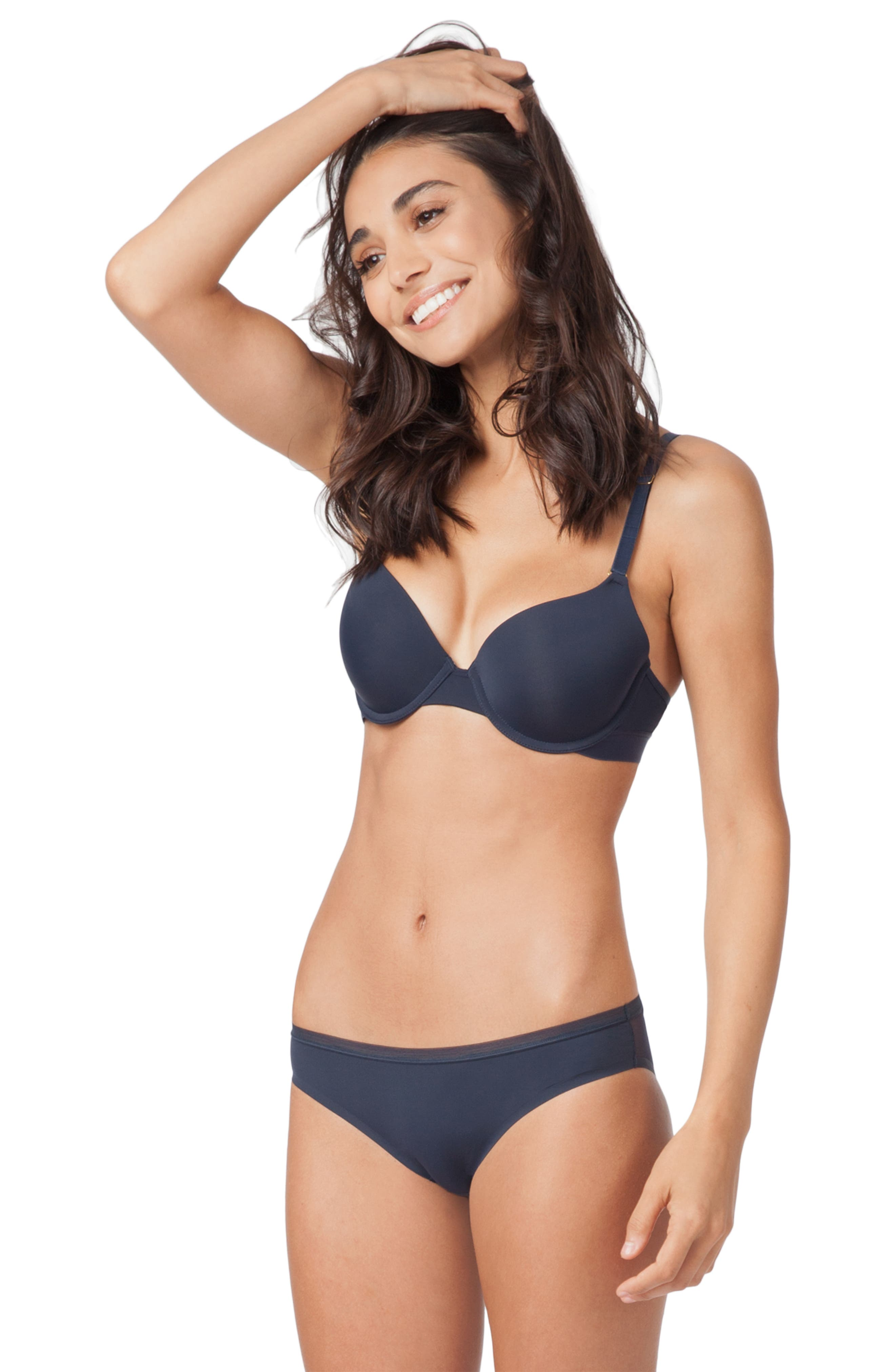 The T-Shirt Underwire Bra,                             Alternate thumbnail 7, color,                             LIVELY NAVY
