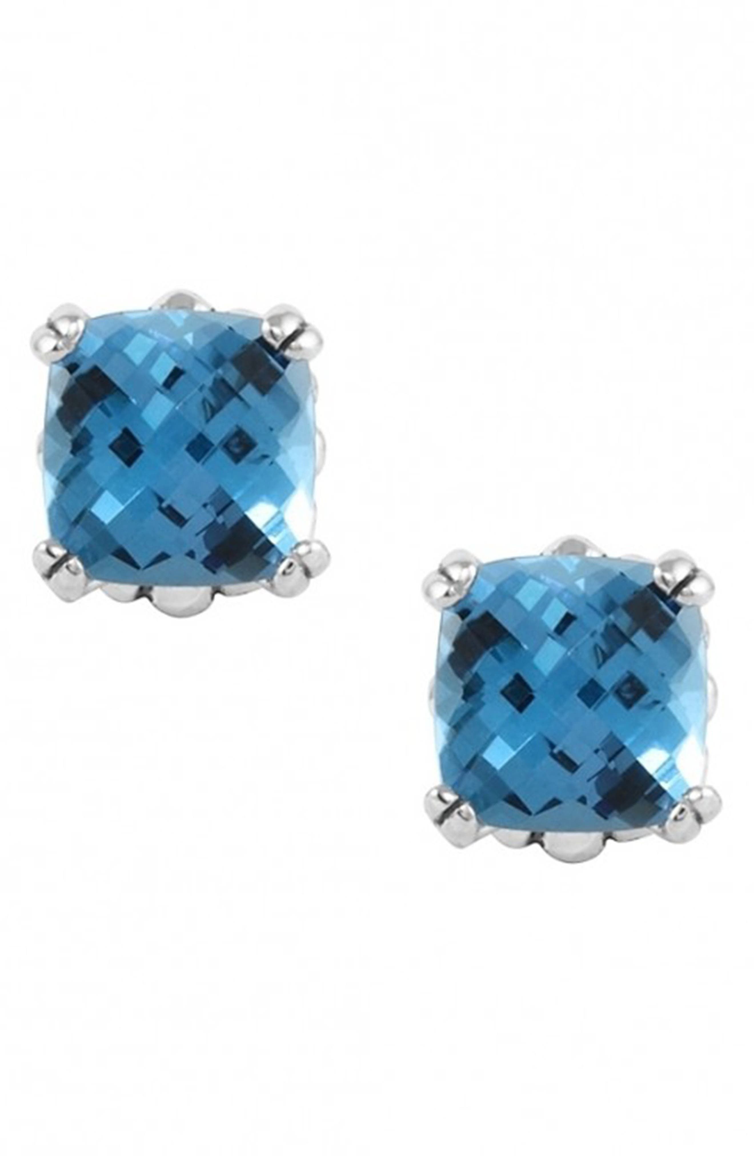 LAGOS 'Prism' Stud Earrings, Main, color, SILVER/ BLUE TOPAZ