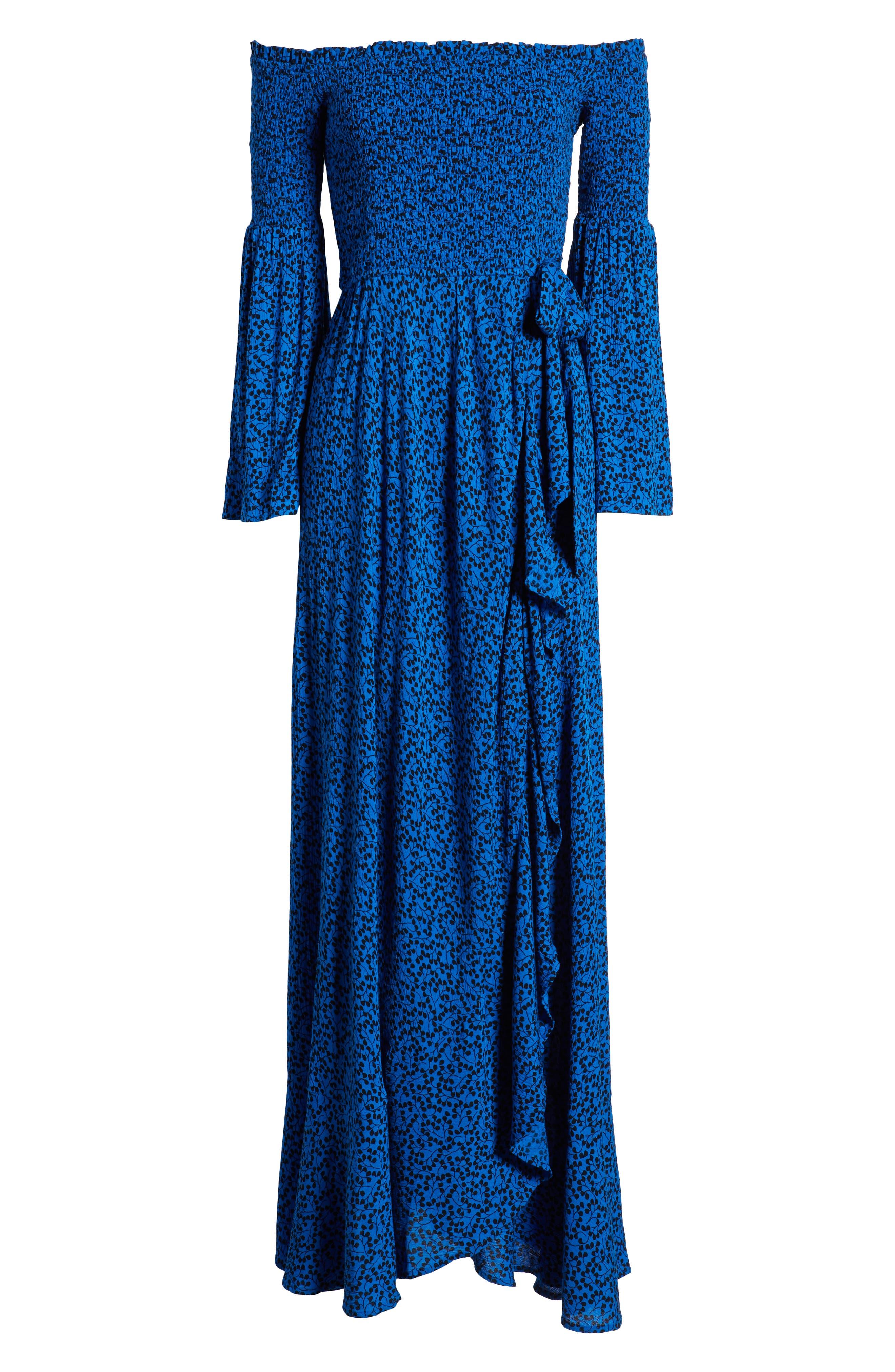 Bali Off The Shoulder Maxi Dress,                             Alternate thumbnail 7, color,                             ROYAL/ BLACK