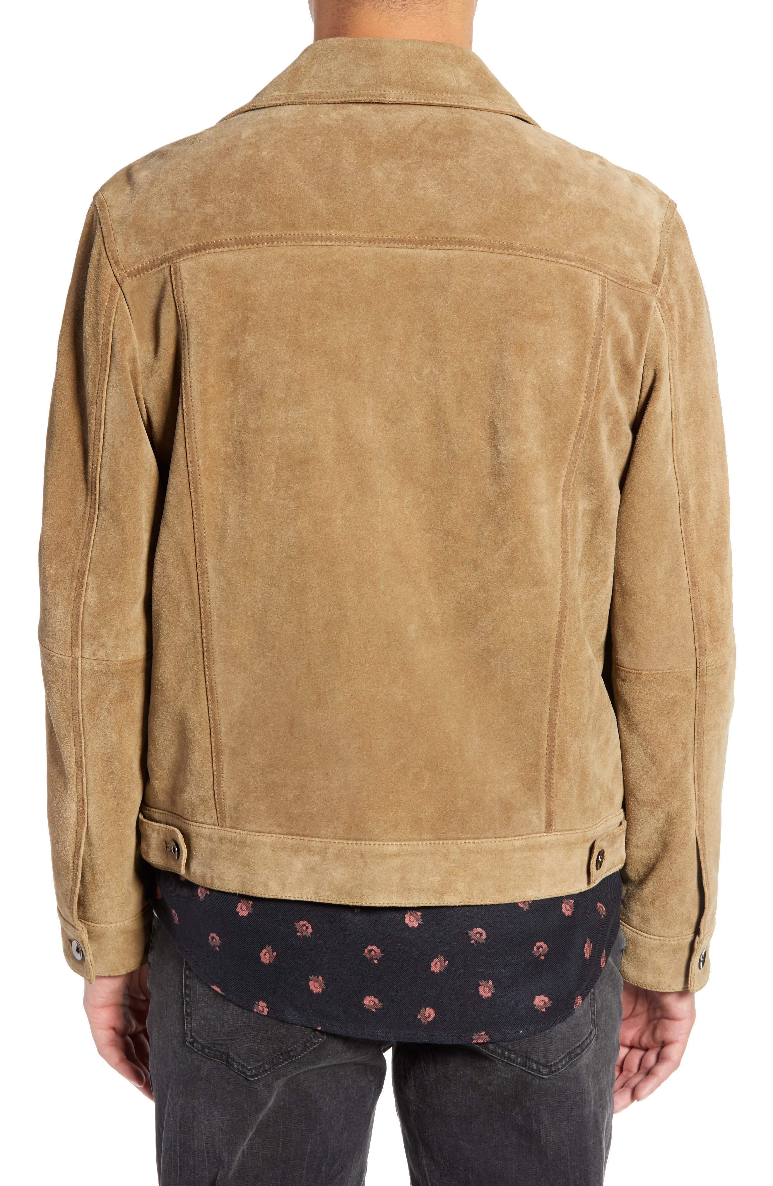 Suede Trucker Jacket,                             Alternate thumbnail 2, color,                             BROWN OTTER