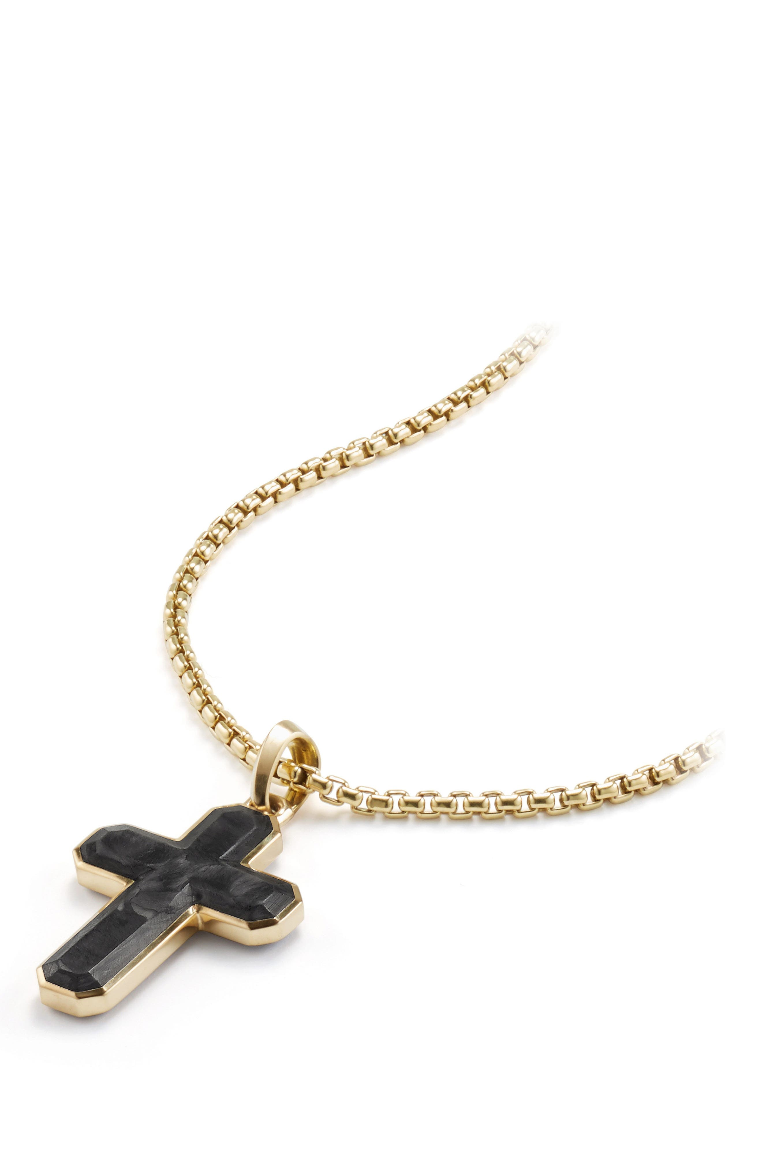 Forged Carbon Cross Tag with 18K Gold,                             Alternate thumbnail 2, color,                             FORGED CARBON