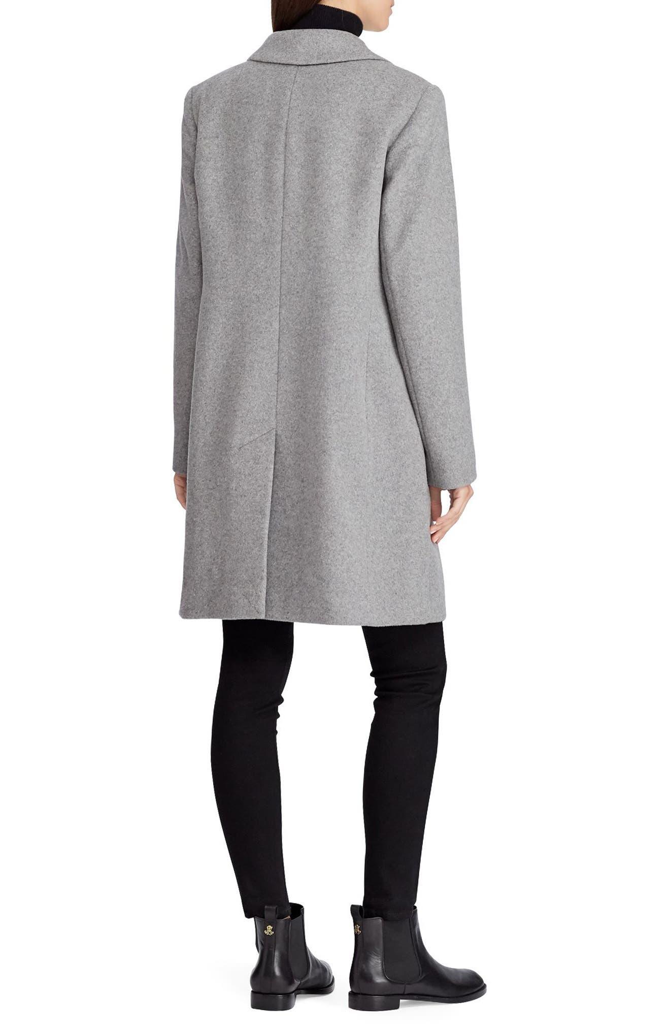 Wool Blend Reefer Coat,                             Alternate thumbnail 2, color,                             ALASKAN GREY