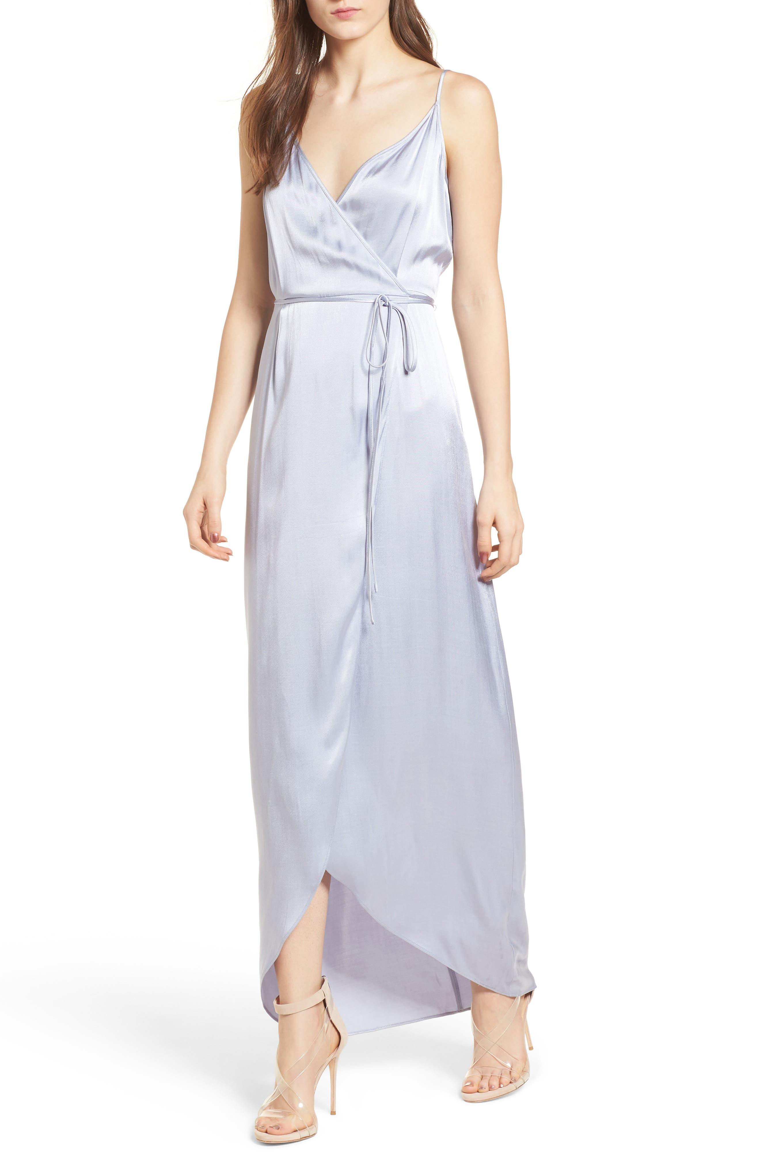 Teagan Satin Wrap Maxi Dress,                         Main,                         color, 400