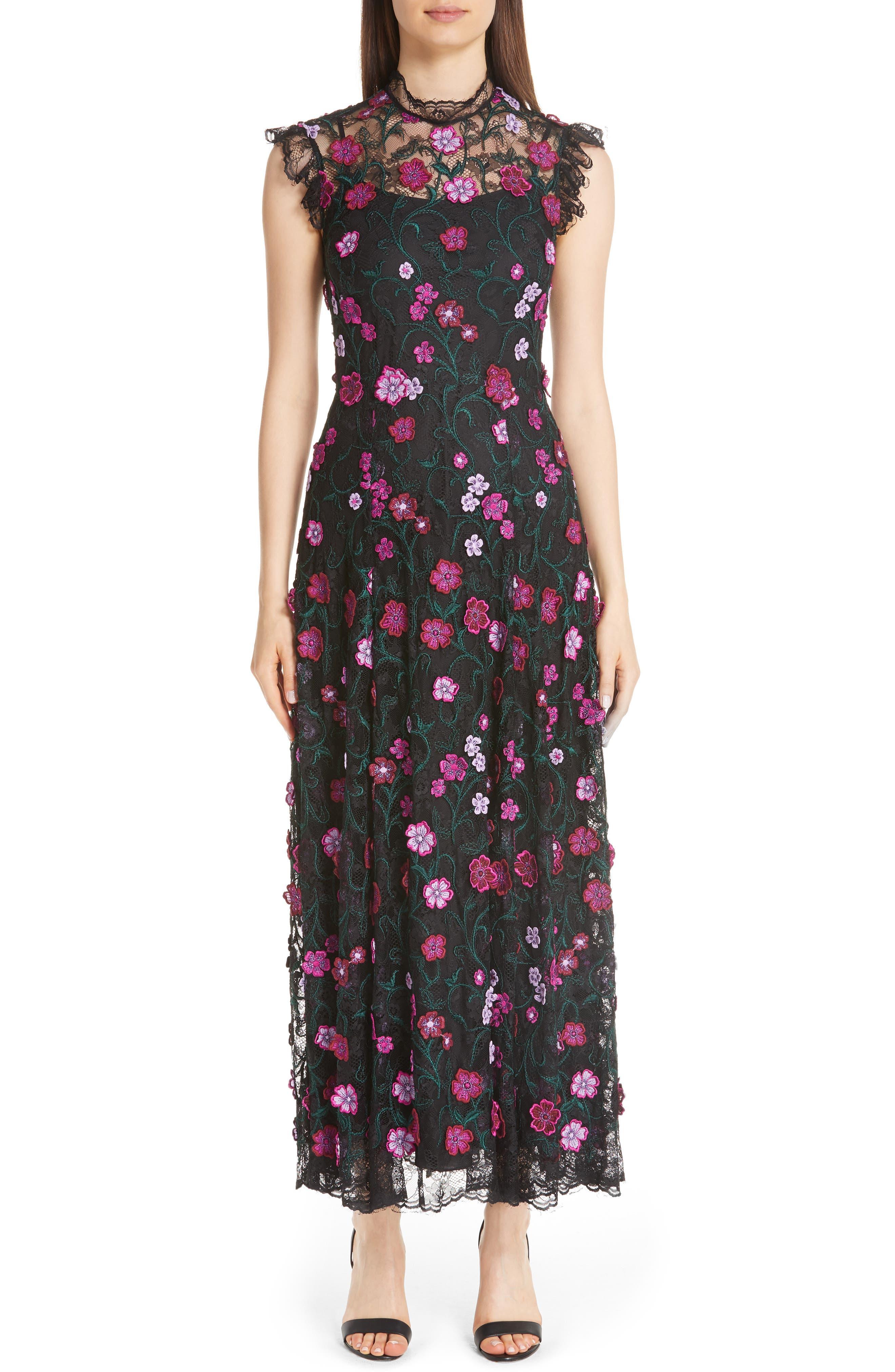 Lela Rose 3D Embroidered Floral Lace Dress, Pink