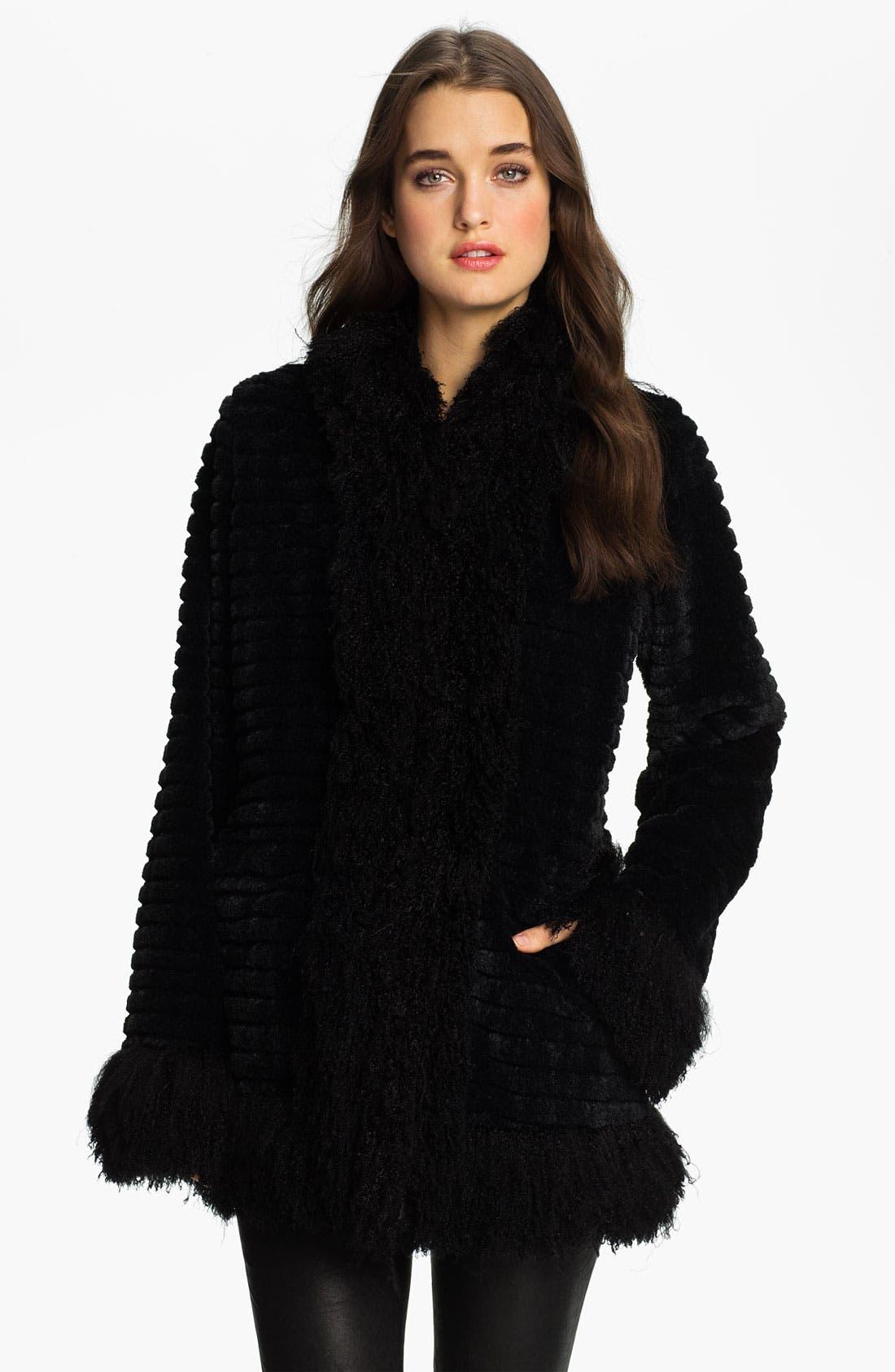 DAMSELLE Faux Rabbit & Lamb Fur Coat, Main, color, 001