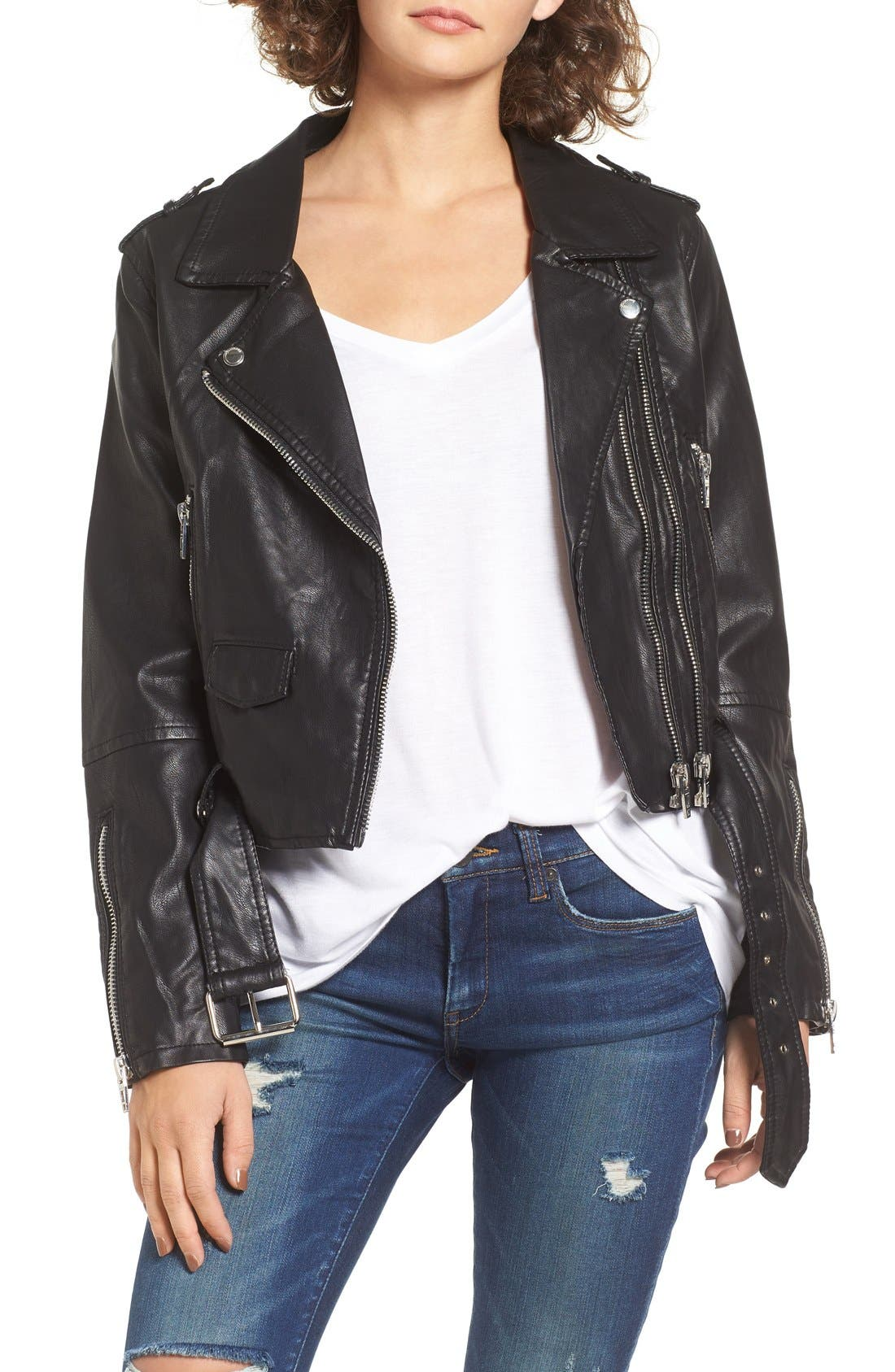BLANKNYC Faux Leather Crop Moto Jacket, Main, color, 001