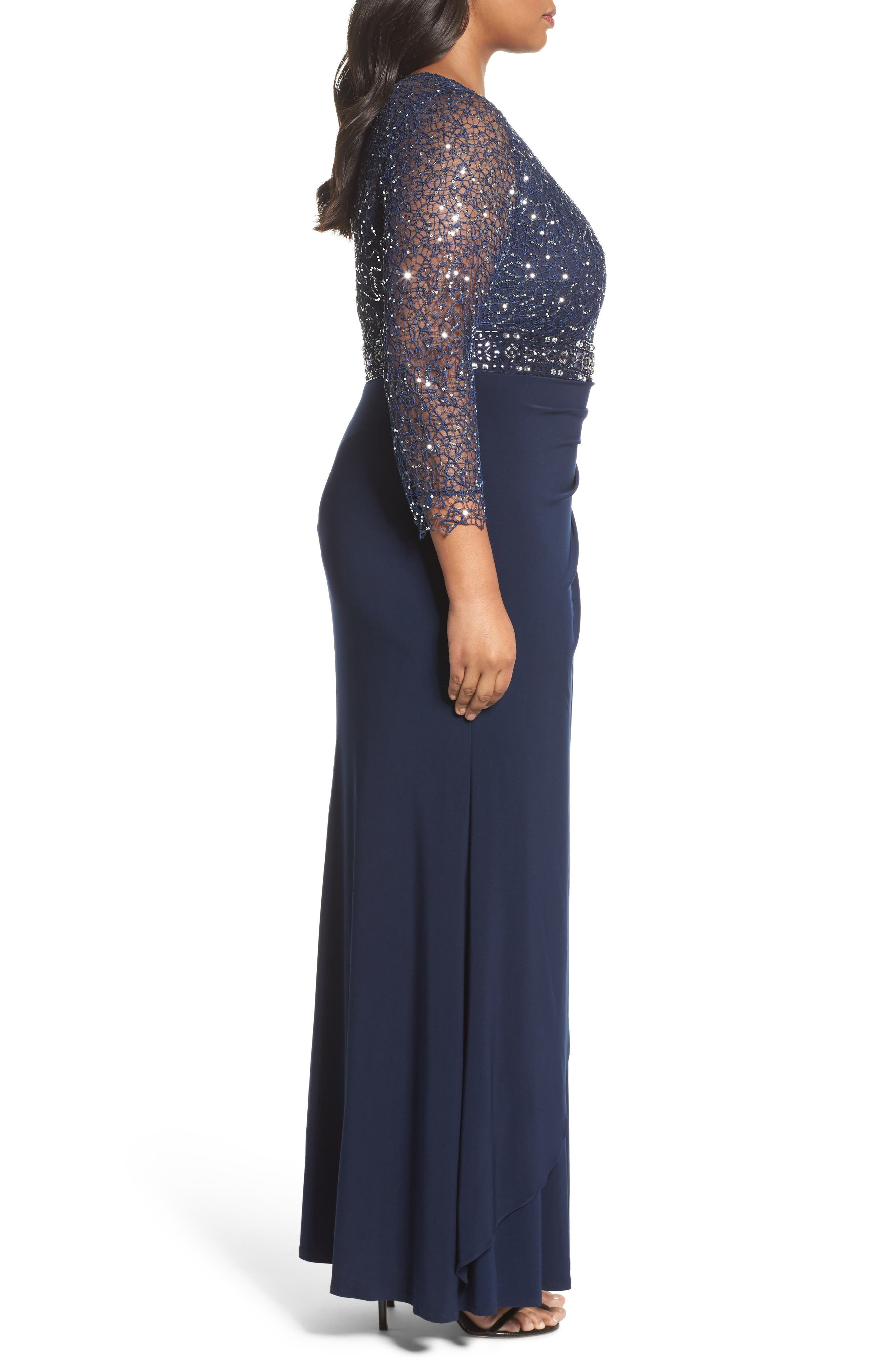 Lace & Jersey Gown,                             Alternate thumbnail 3, color,                             NAVY
