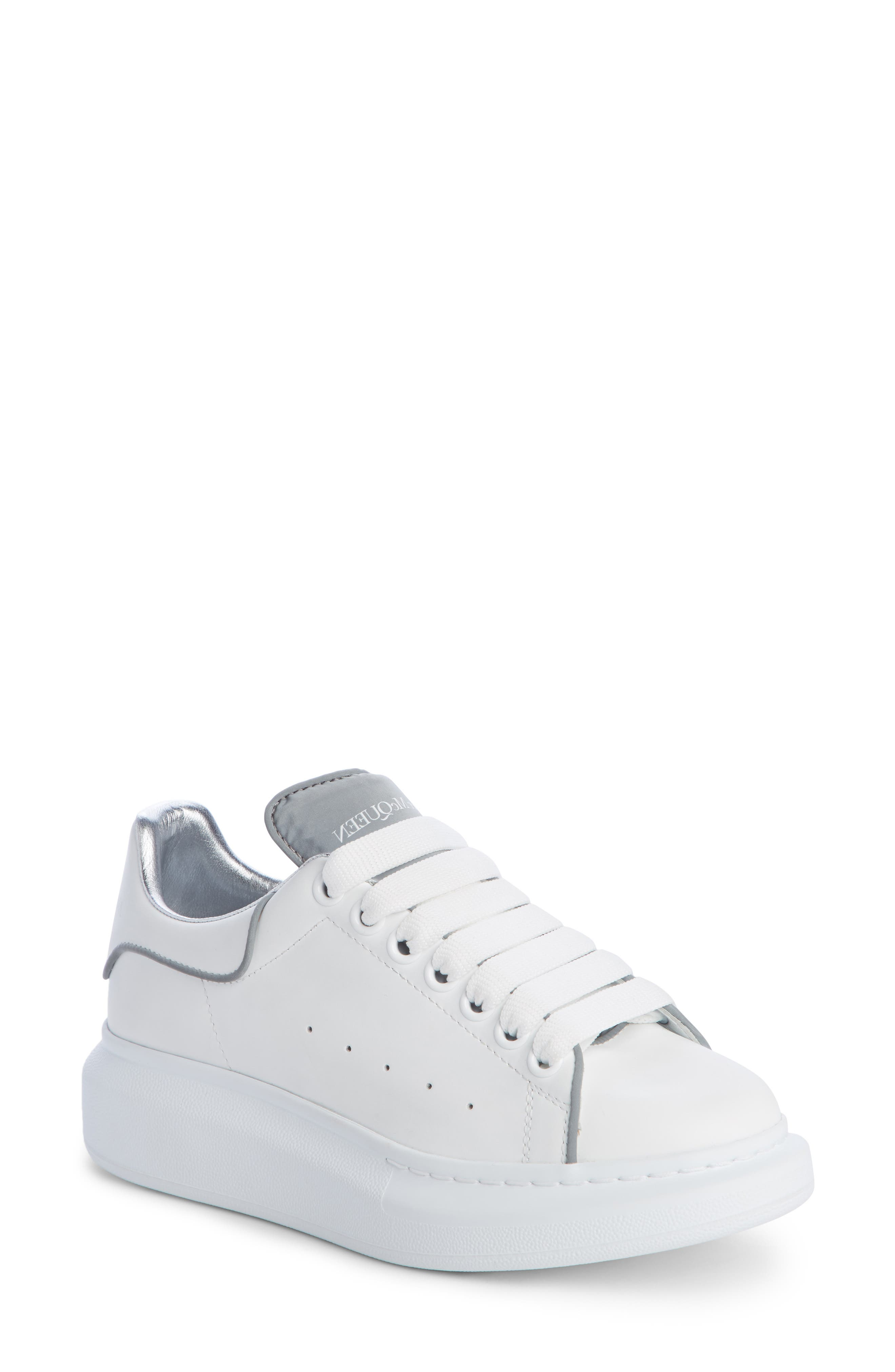 ALEXANDER MCQUEEN,                             Sneaker,                             Main thumbnail 1, color,                             WHITE/ SILVER PIPING