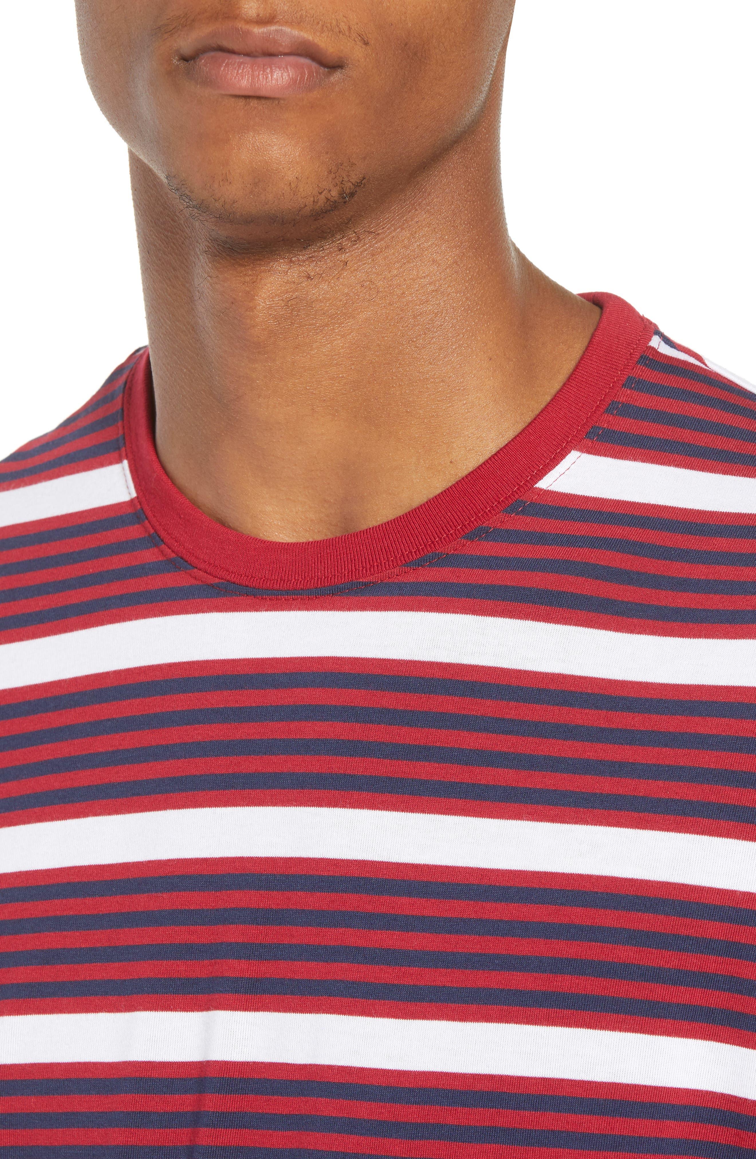 Dry Stripe Long Sleeve T-Shirt,                             Alternate thumbnail 4, color,                             RED CRUSH/ OBSIDIAN