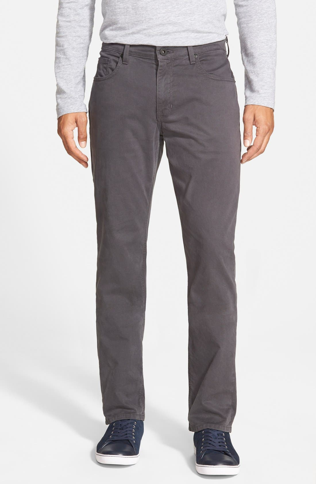 Normandie Slim Straight Leg Twill Pants,                             Main thumbnail 1, color,                             SOOT DARK GREY