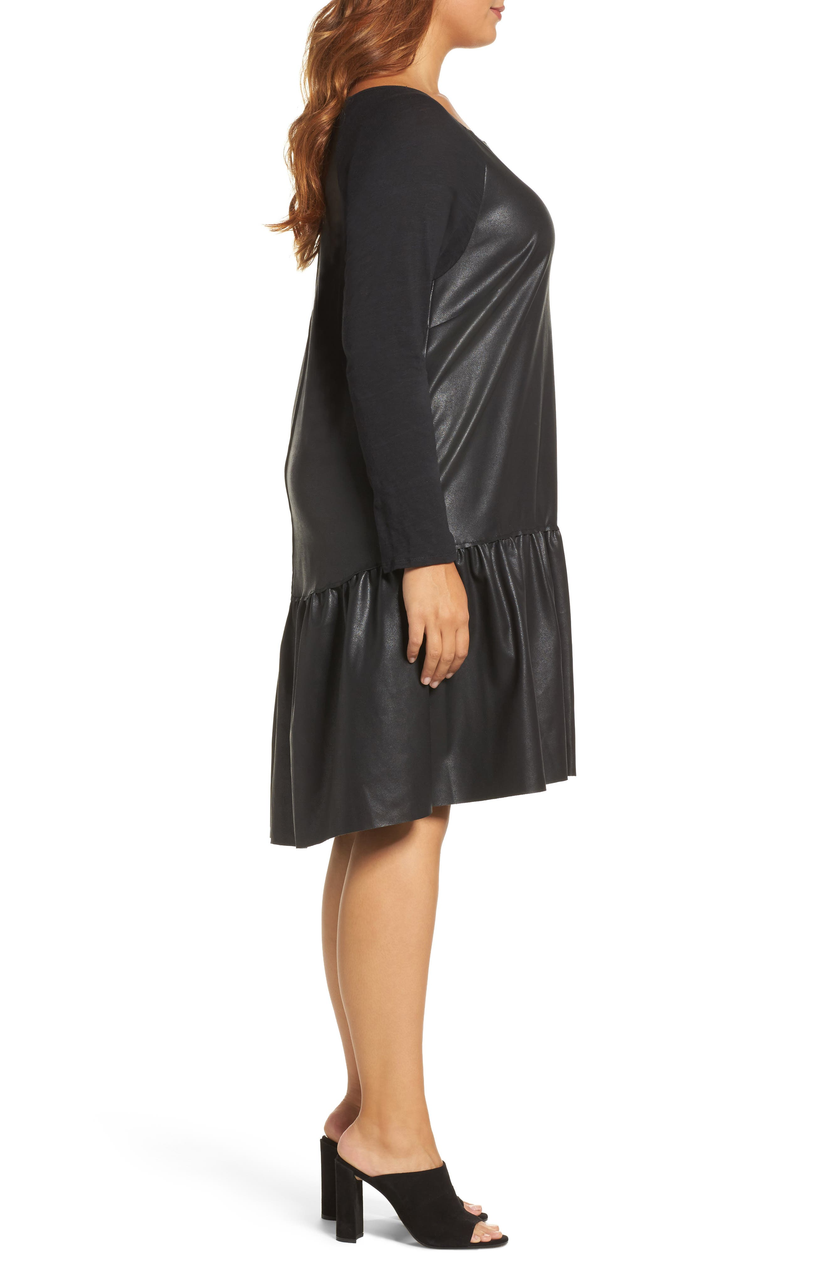 Drop Waist Faux Leather & Knit Dress,                             Alternate thumbnail 3, color,
