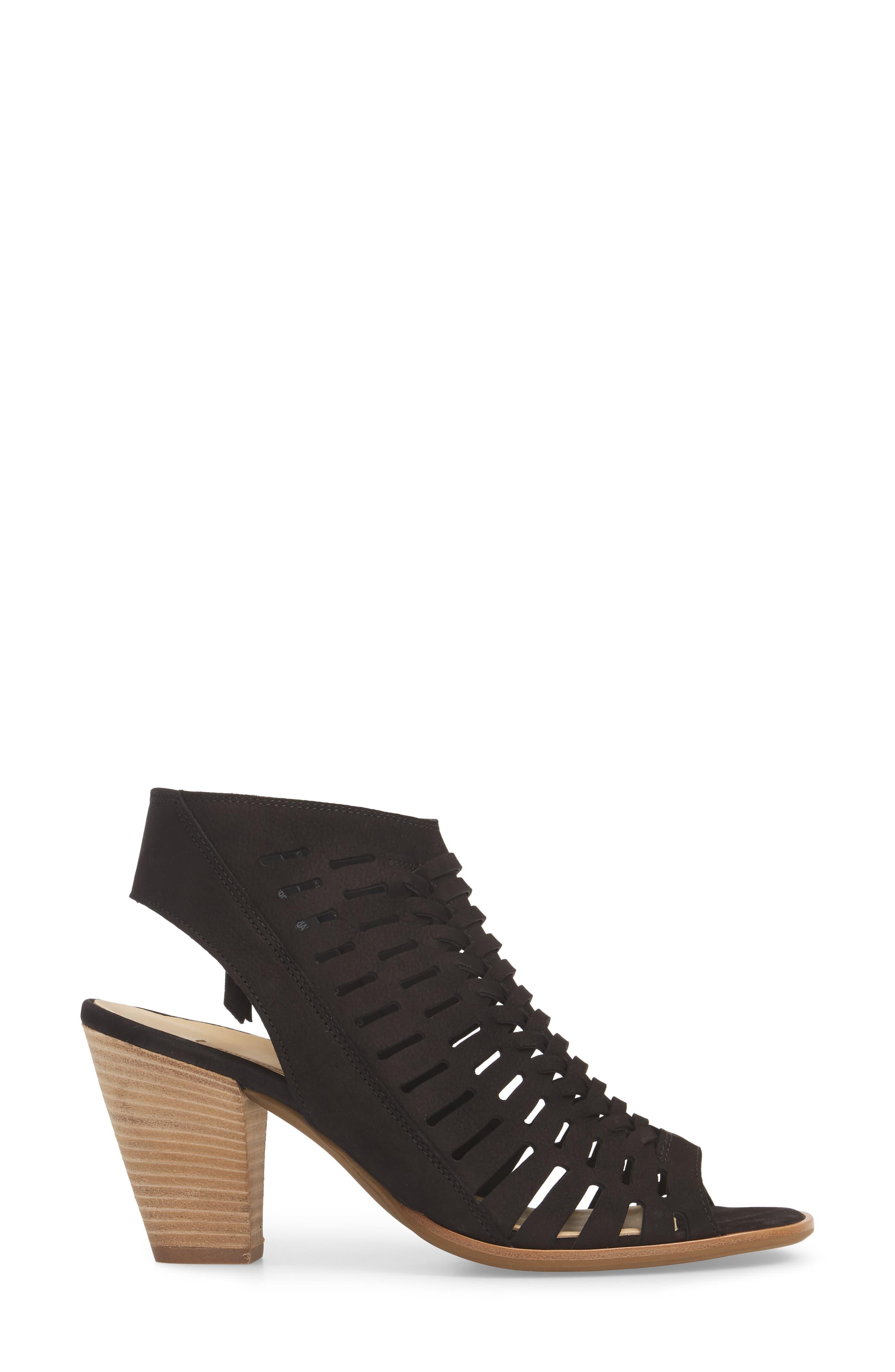 Rosa Woven Peep Toe Sandal,                             Alternate thumbnail 3, color,                             BLACK NUBUCK