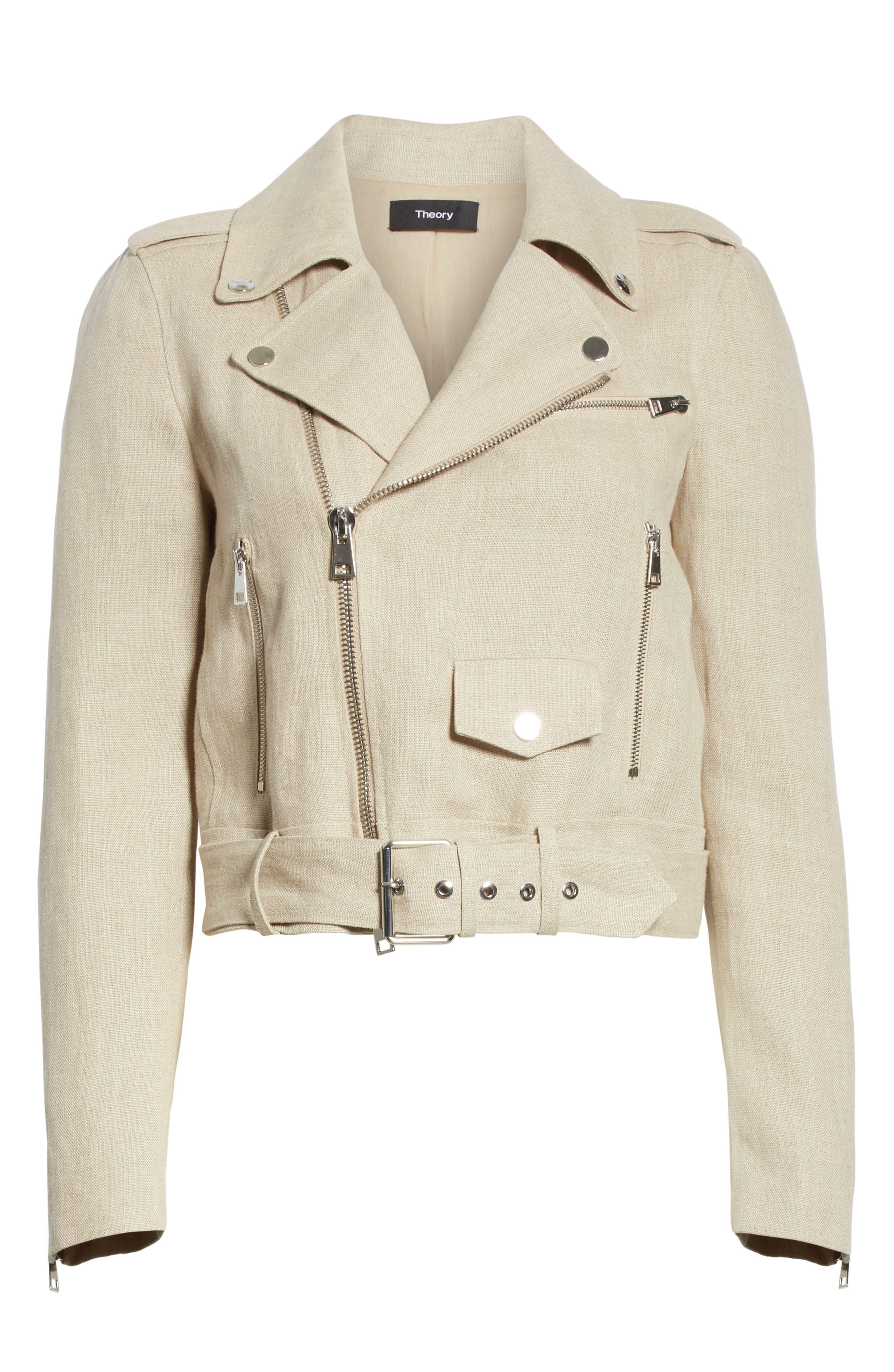 Shrunken Linen Moto Jacket,                             Alternate thumbnail 5, color,