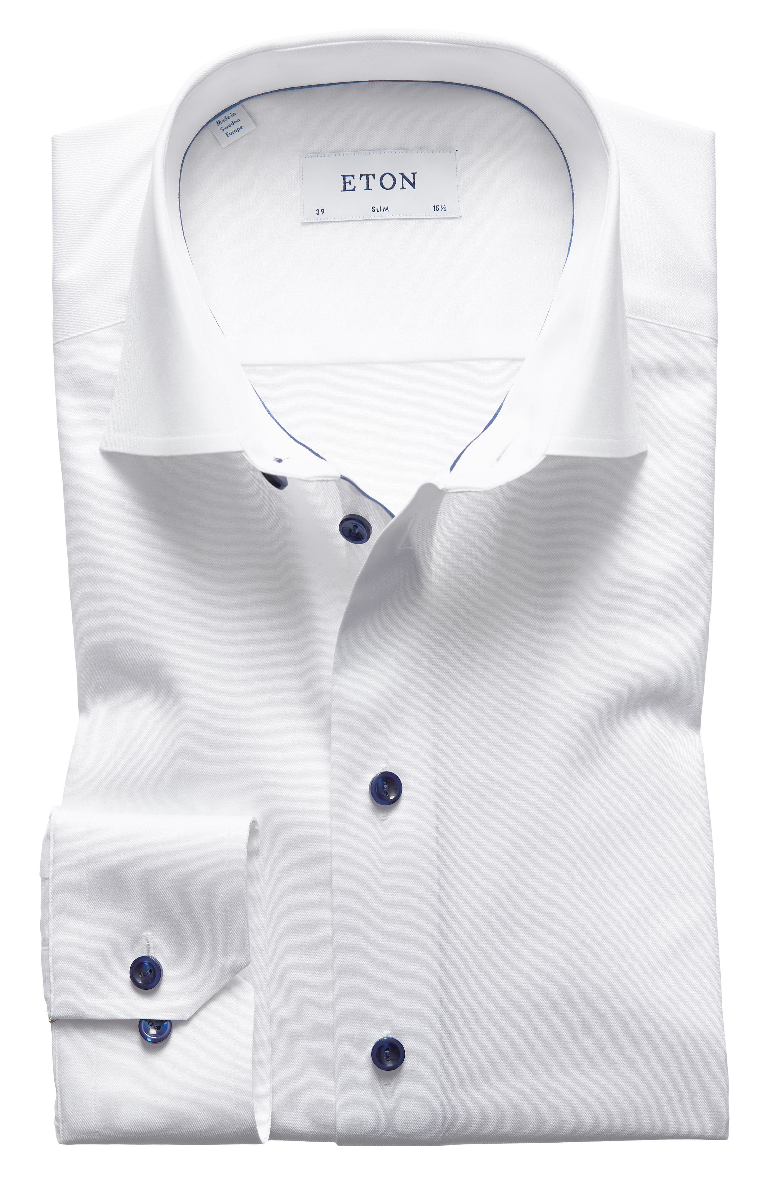 Slim Fit Twill Dress Shirt with Grey Details,                         Main,                         color, WHITE/ NAVY