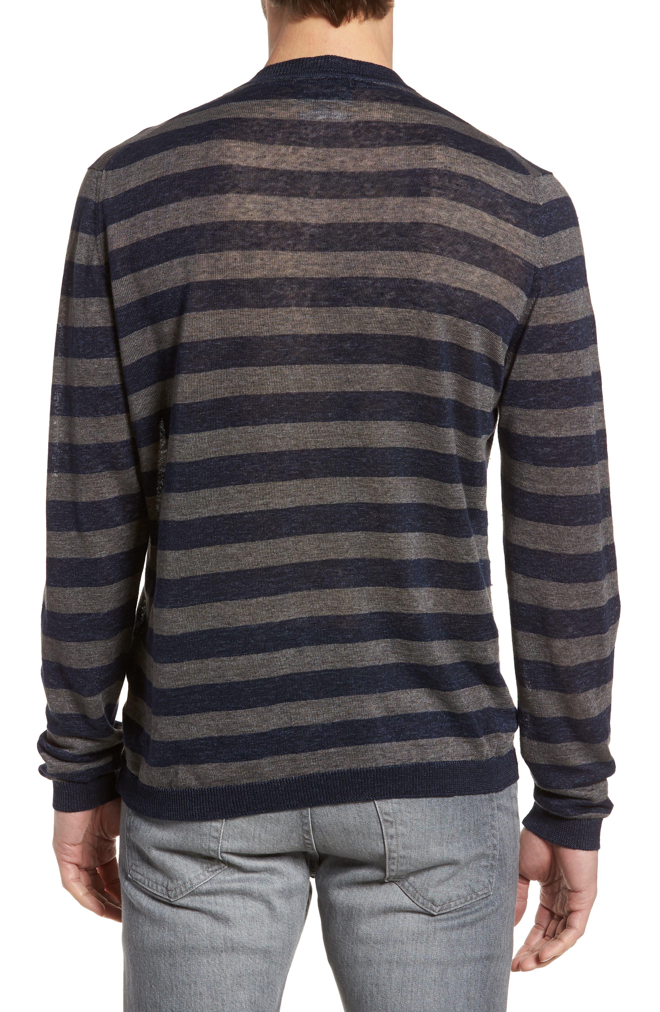 & Bros. Stripe Linen Sweater,                             Alternate thumbnail 2, color,