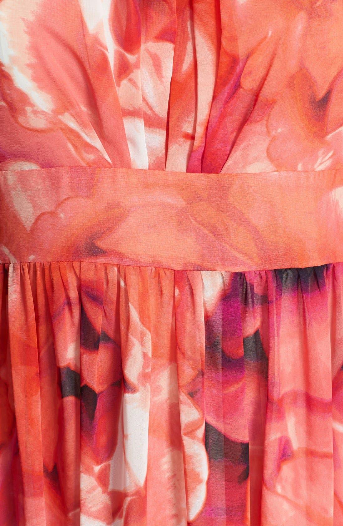 Print Chiffon Fit & Flare Maxi Dress,                             Alternate thumbnail 10, color,                             650