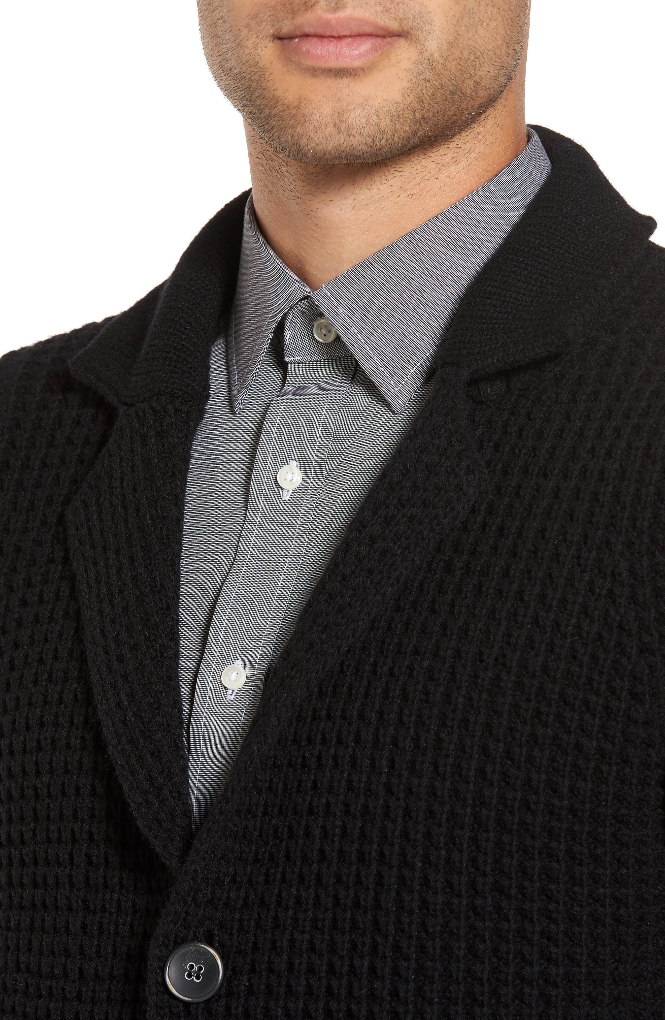 Trim Fit Knit Cardigan Jacket,                             Alternate thumbnail 4, color,                             001